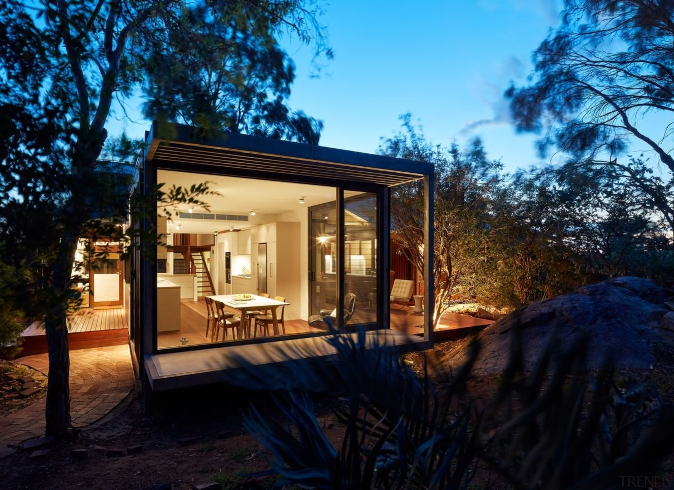 Life on MAARS - Life on MAARS - architecture, backyard, cottage, estate, facade, home, house, landscape, lighting, property, real estate, siding, villa, black