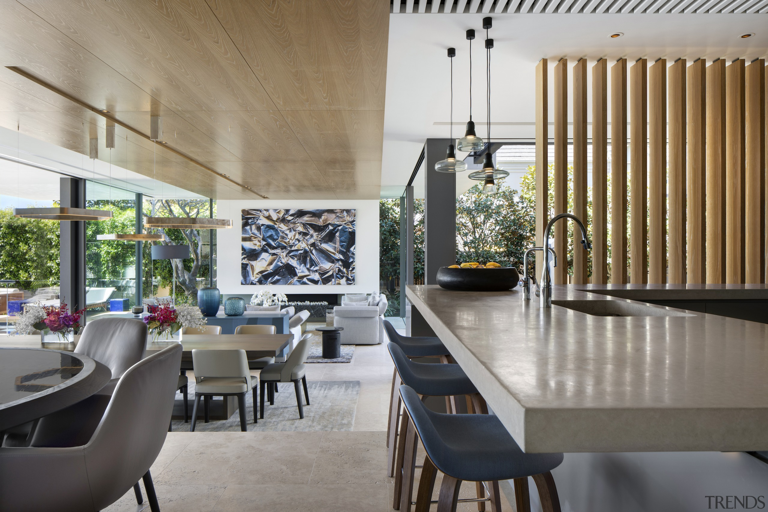 Winner – SAOTA and TKD – 2018 TIDA architecture, dining room, house, interior design, living room, table, gray