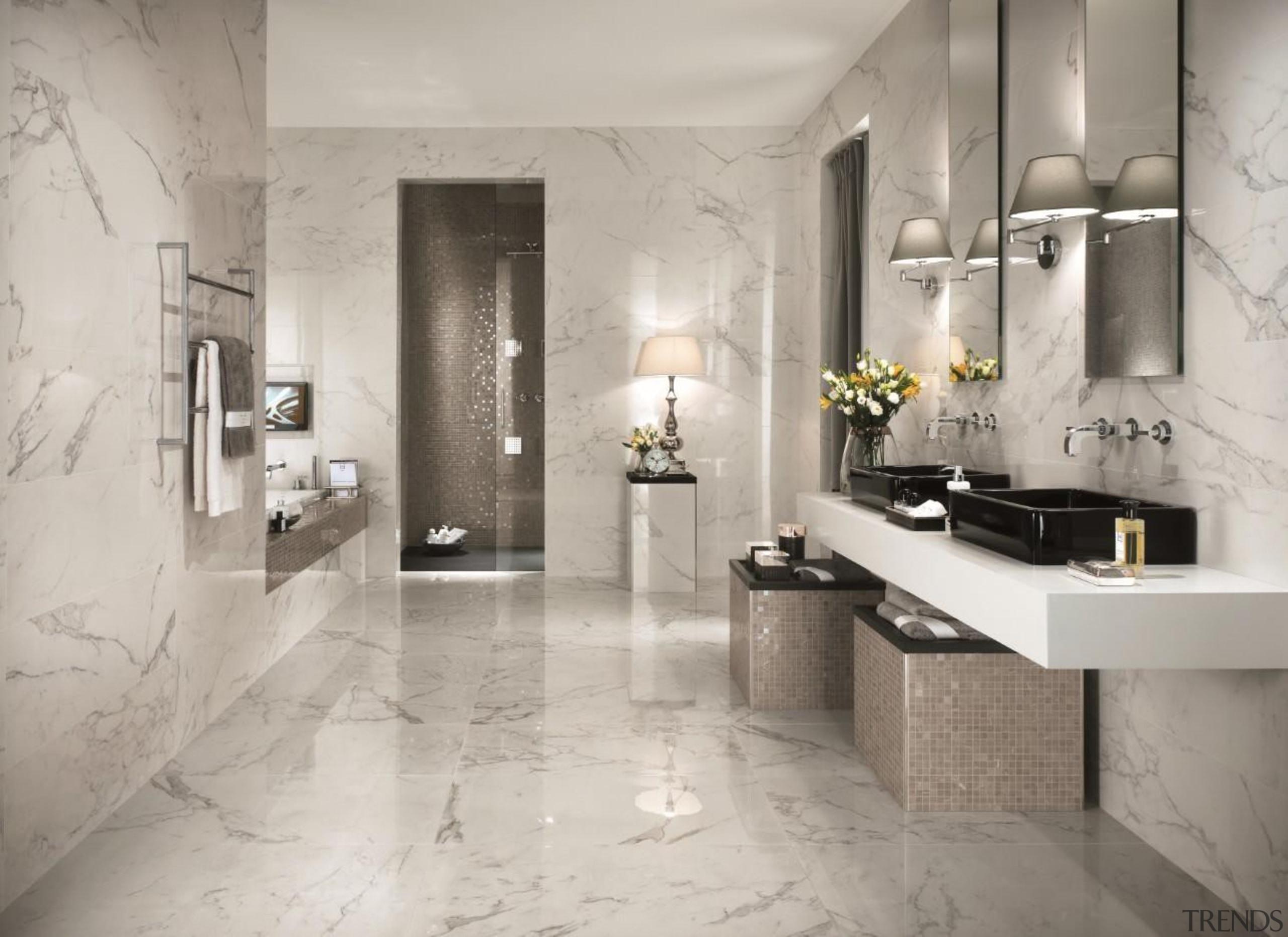 Calacatta bathroom tiles - Cb 9201375049970453 - bathroom bathroom, countertop, floor, flooring, home, interior design, room, tap, tile, wall, gray