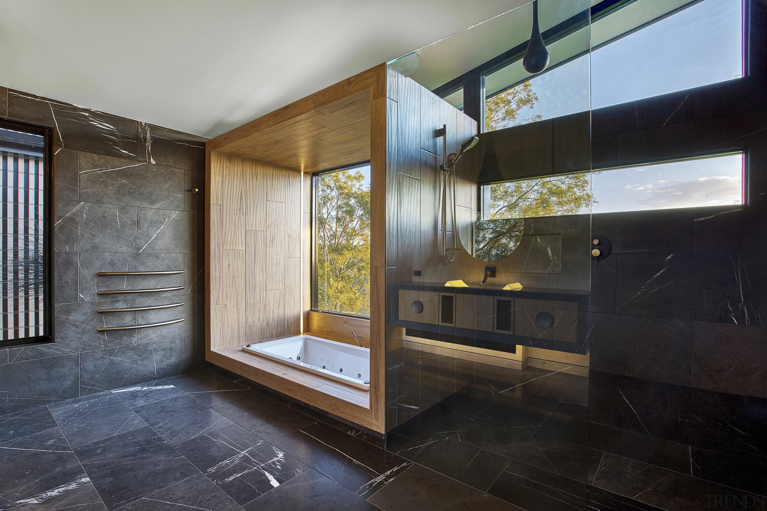 The tub surround in this bathroom calls to architecture, ceiling, house, interior design, real estate, black, gray