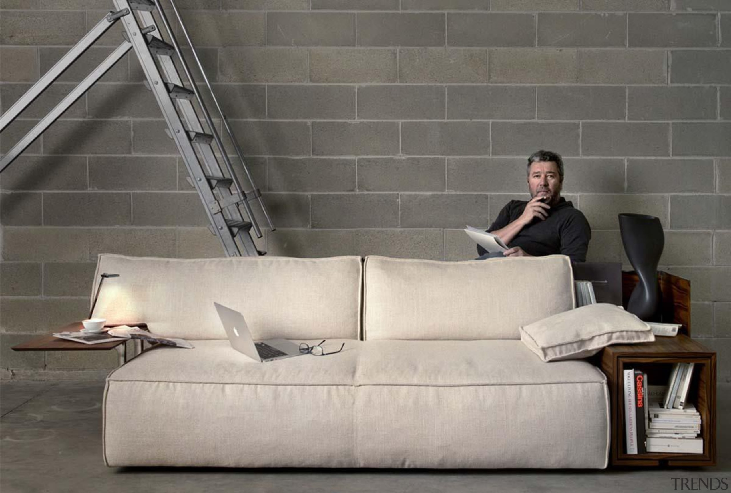 cassinastarckmyworldsofainstu.jpg - cassinastarckmyworldsofainstu.jpg - angle | bed | angle, bed, chair, chaise longue, couch, floor, flooring, furniture, interior design, lighting, product design, sofa bed, wall, gray