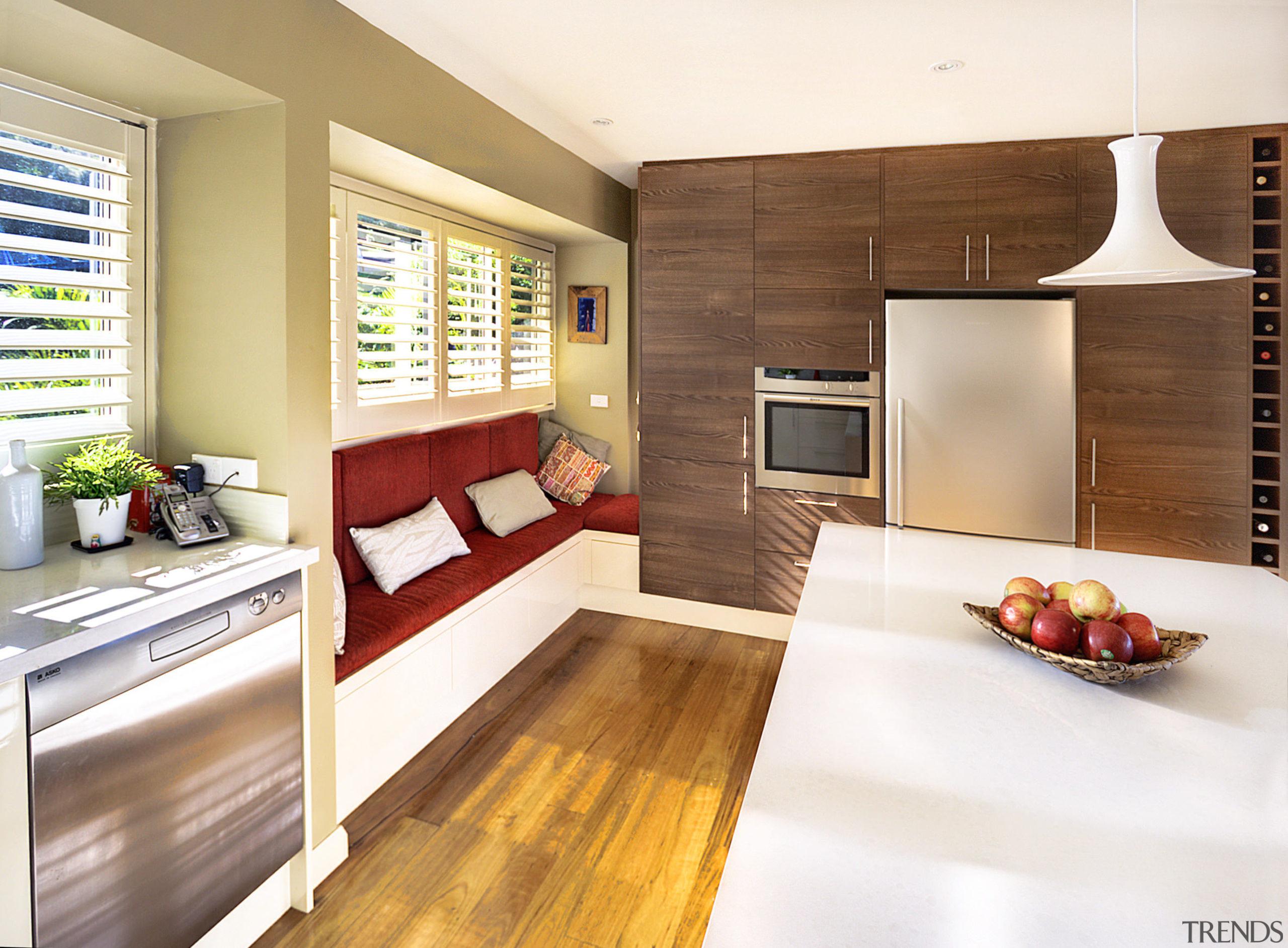 View of kitchen featuring wood floors, white bench interior design, kitchen, real estate, white