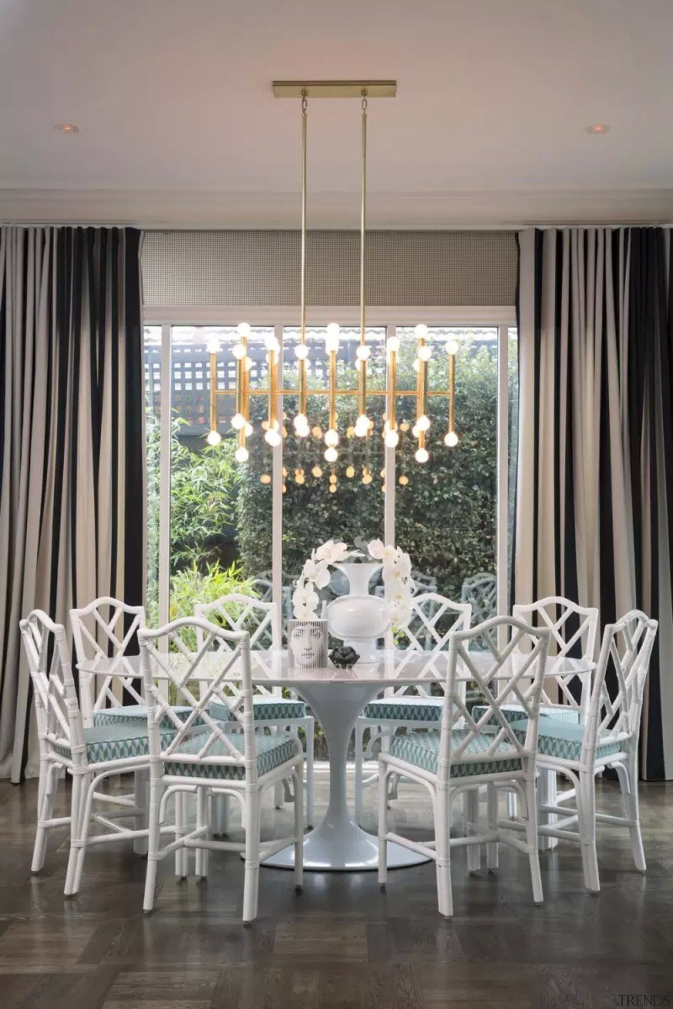 French classic-style residence by Massimo Interiors chair, chandelier, curtain, dining room, furniture, home, interior design, living room, room, table, window, window covering, window treatment, gray