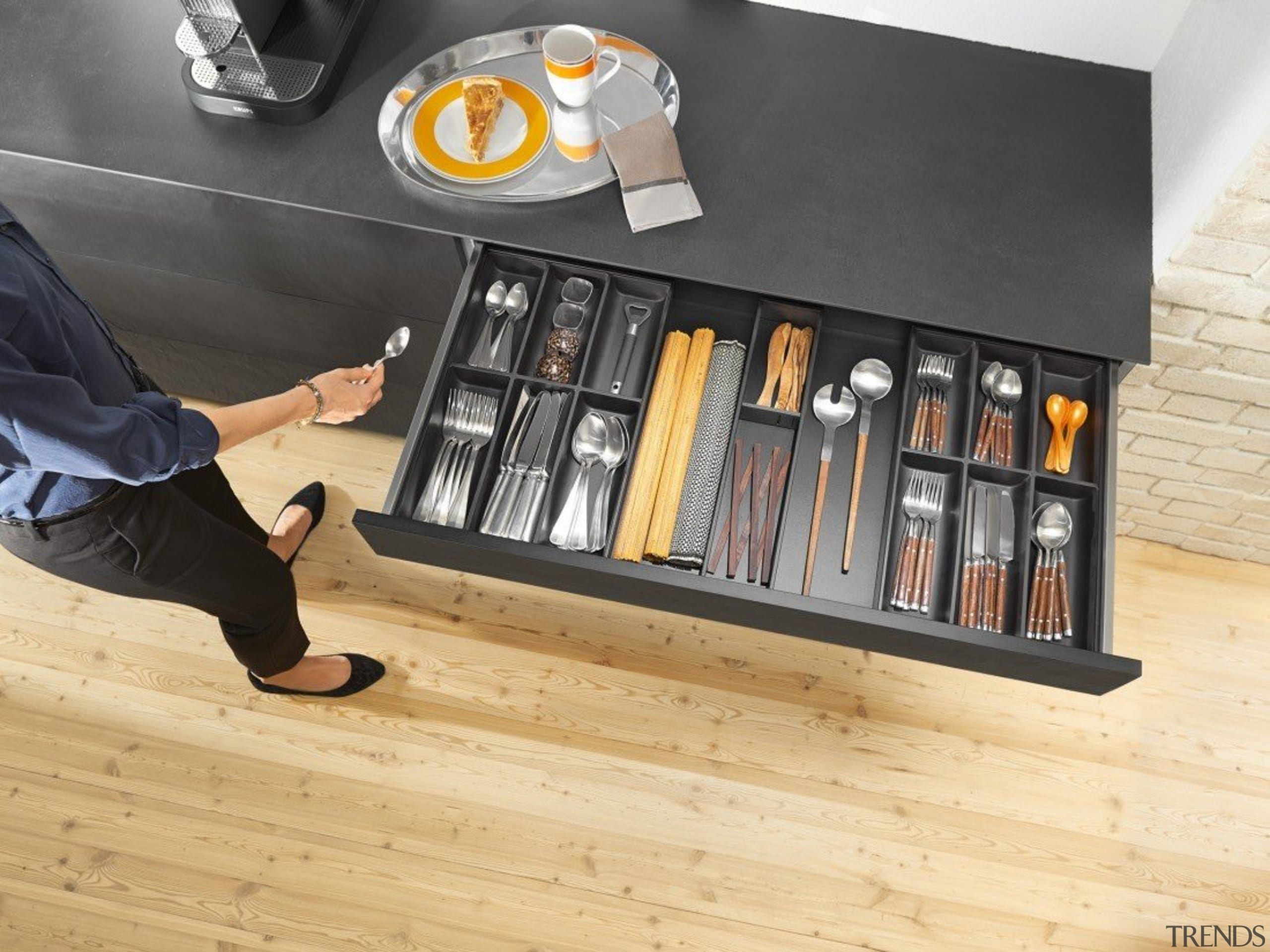 AMBIA-LINE inner dividing system – organization at its floor, flooring, furniture, product, product design, shelf, shelving, table, wood, orange, black
