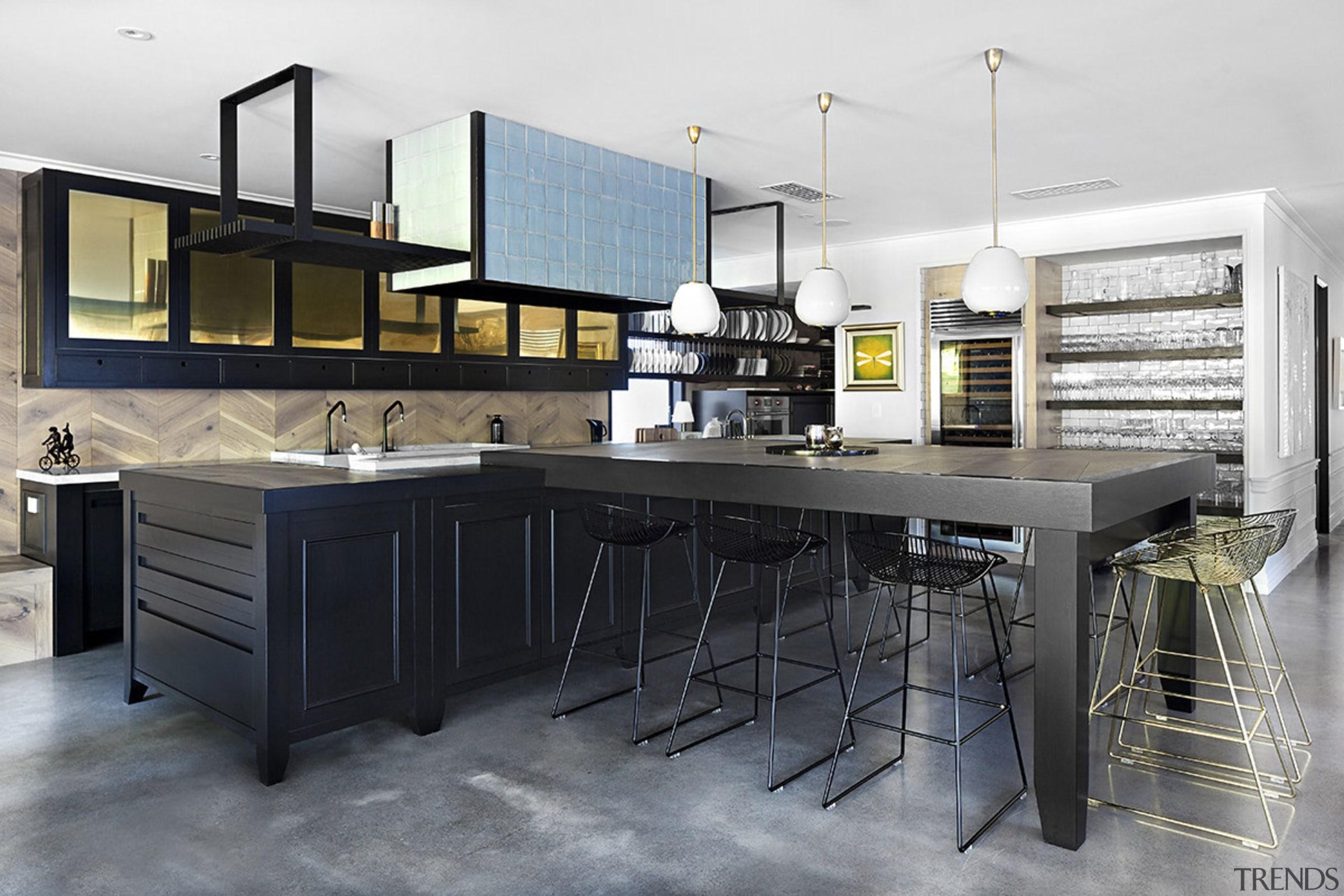 The kitchen runs along the central axis of countertop, cuisine classique, furniture, interior design, kitchen, gray, white, black