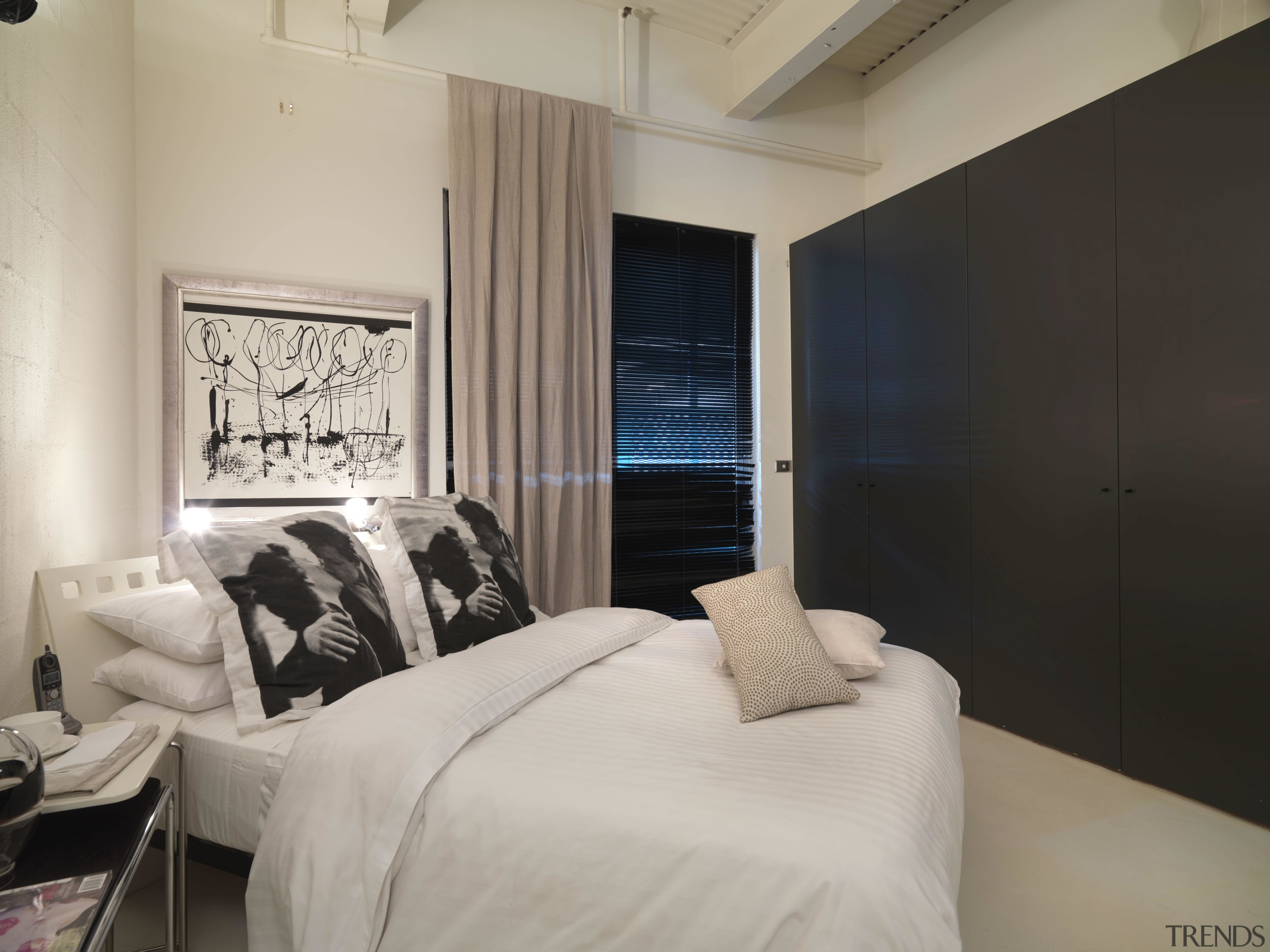 View of bedroom with light-stained timber flooring, corrugated bed frame, bedroom, ceiling, floor, home, interior design, property, real estate, room, suite, wall, window, gray, black