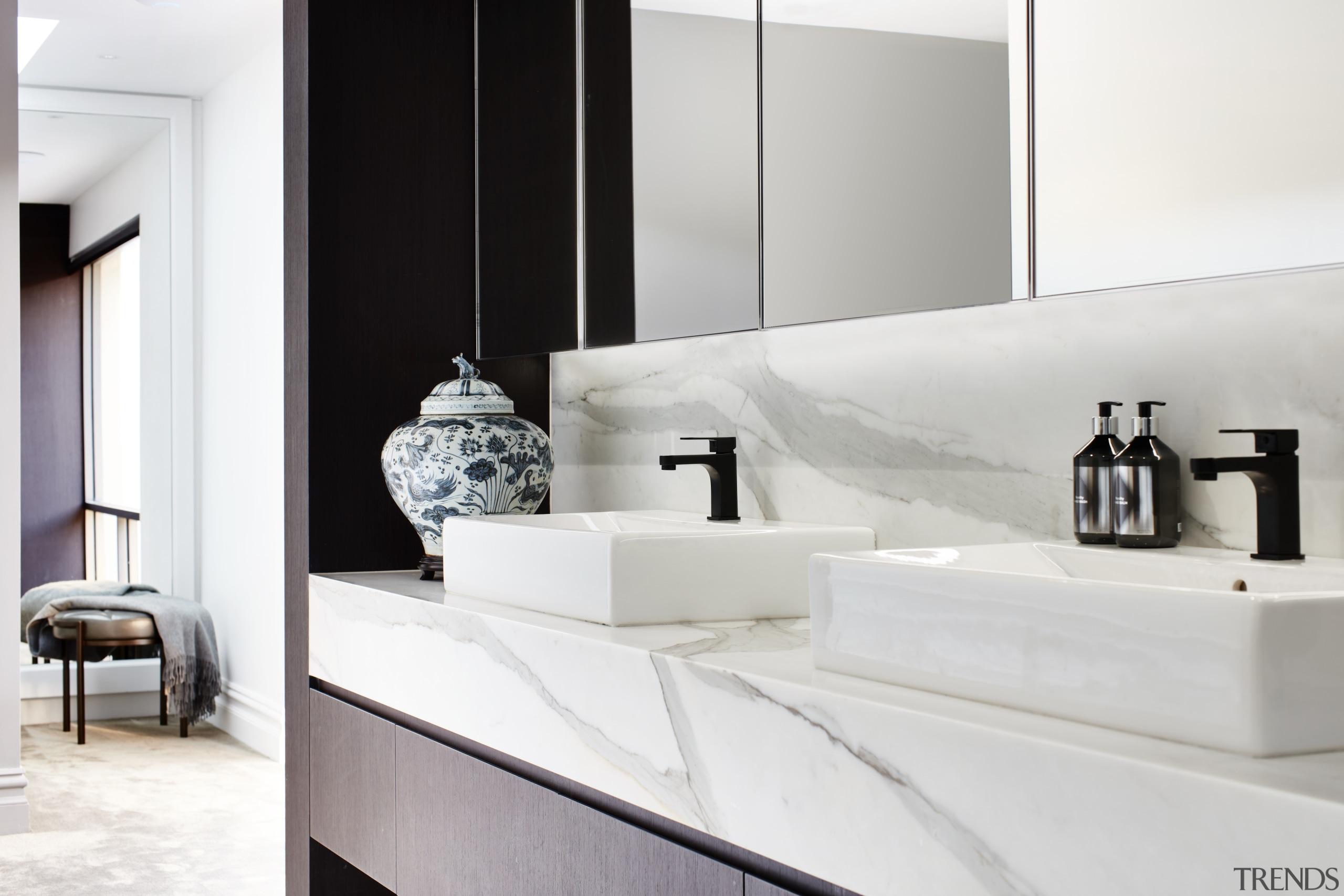 Traditional urn, modern black tapware – this is architecture, bathroom, bathroom accessory, bathroom cabinet, black tapware, black-and-white, countertopmarble, Archer Design