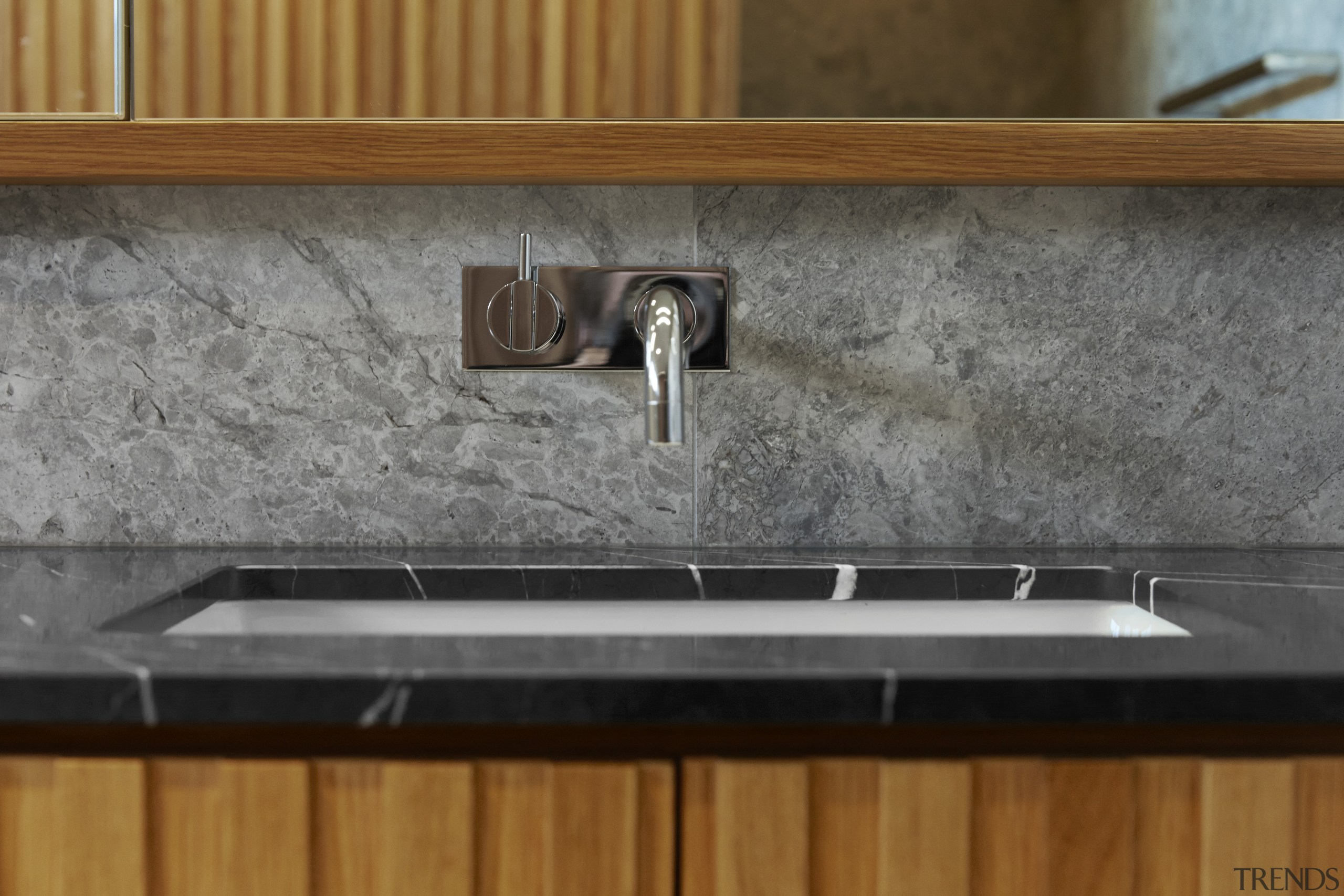 Vola tapware provides a timeless and simple look countertop, floor, granite, plumbing fixture, sink, tile, wood stain, gray, brown