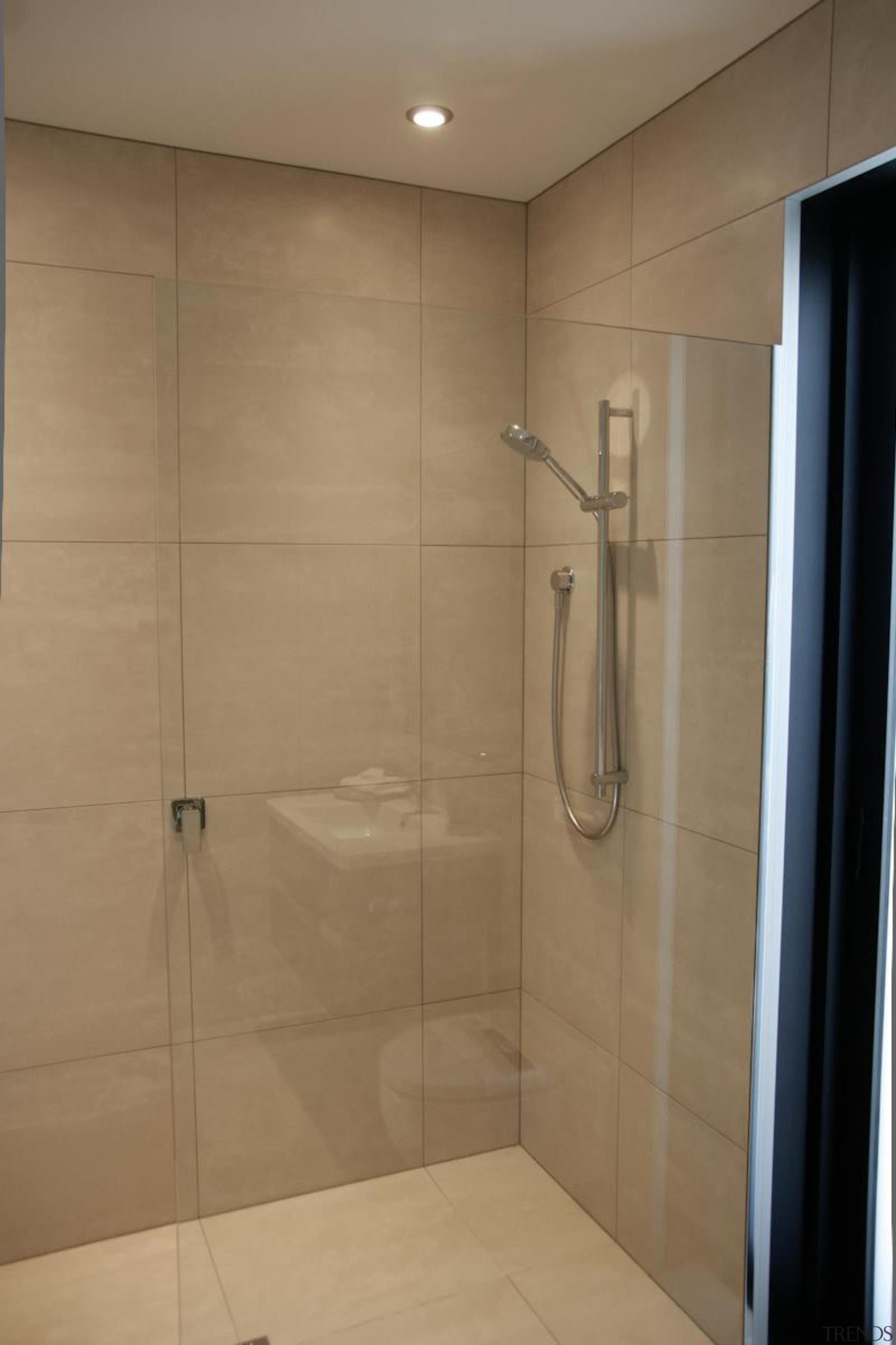 Earthstone talc ivory porcelain tiled shower - Earthstone bathroom, floor, plumbing fixture, room, shower, tile, brown