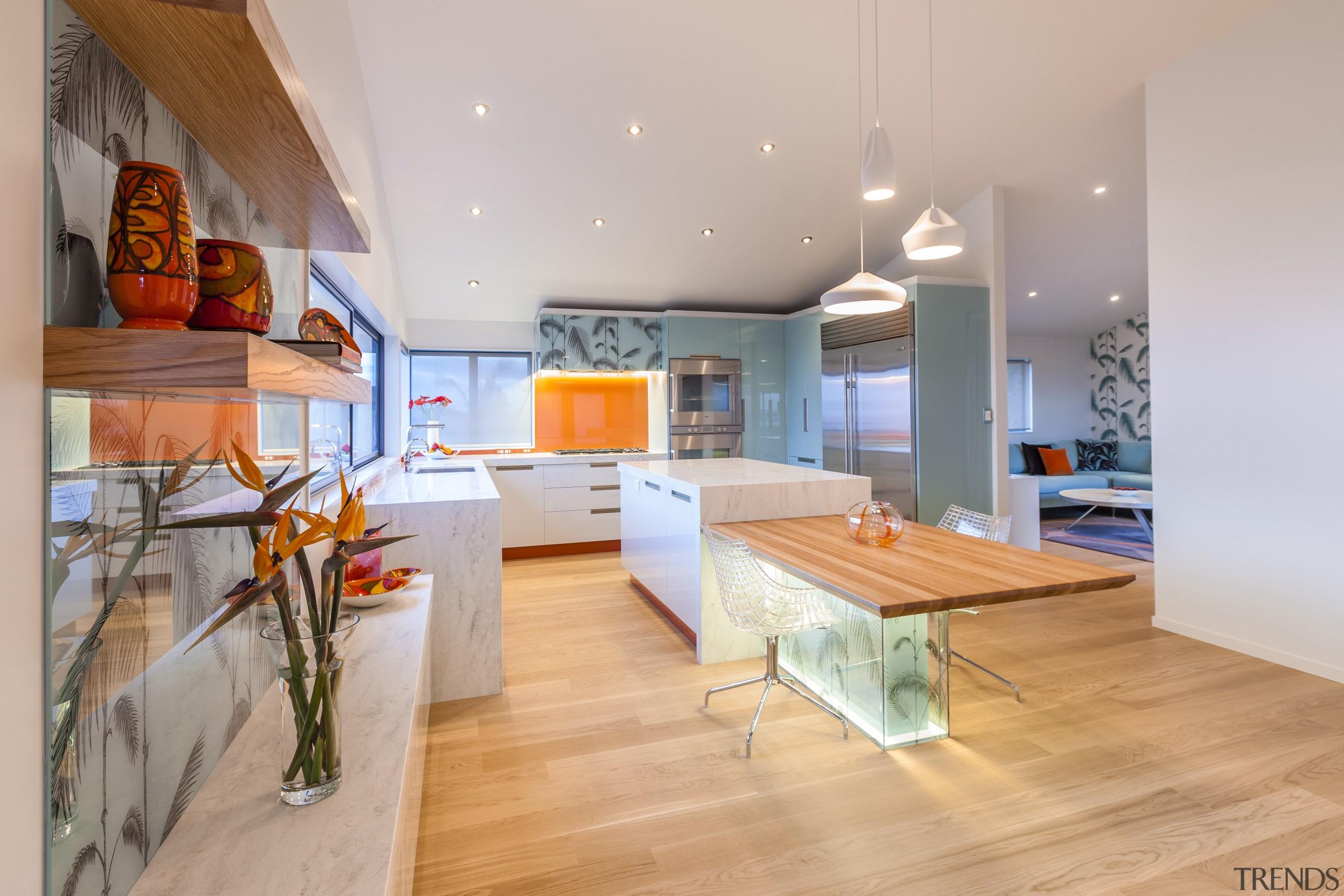 This kitchen was designed and built by Mal architecture, ceiling, floor, hardwood, interior design, interior designer, living room, loft, real estate, room, wood, wood flooring, gray, orange