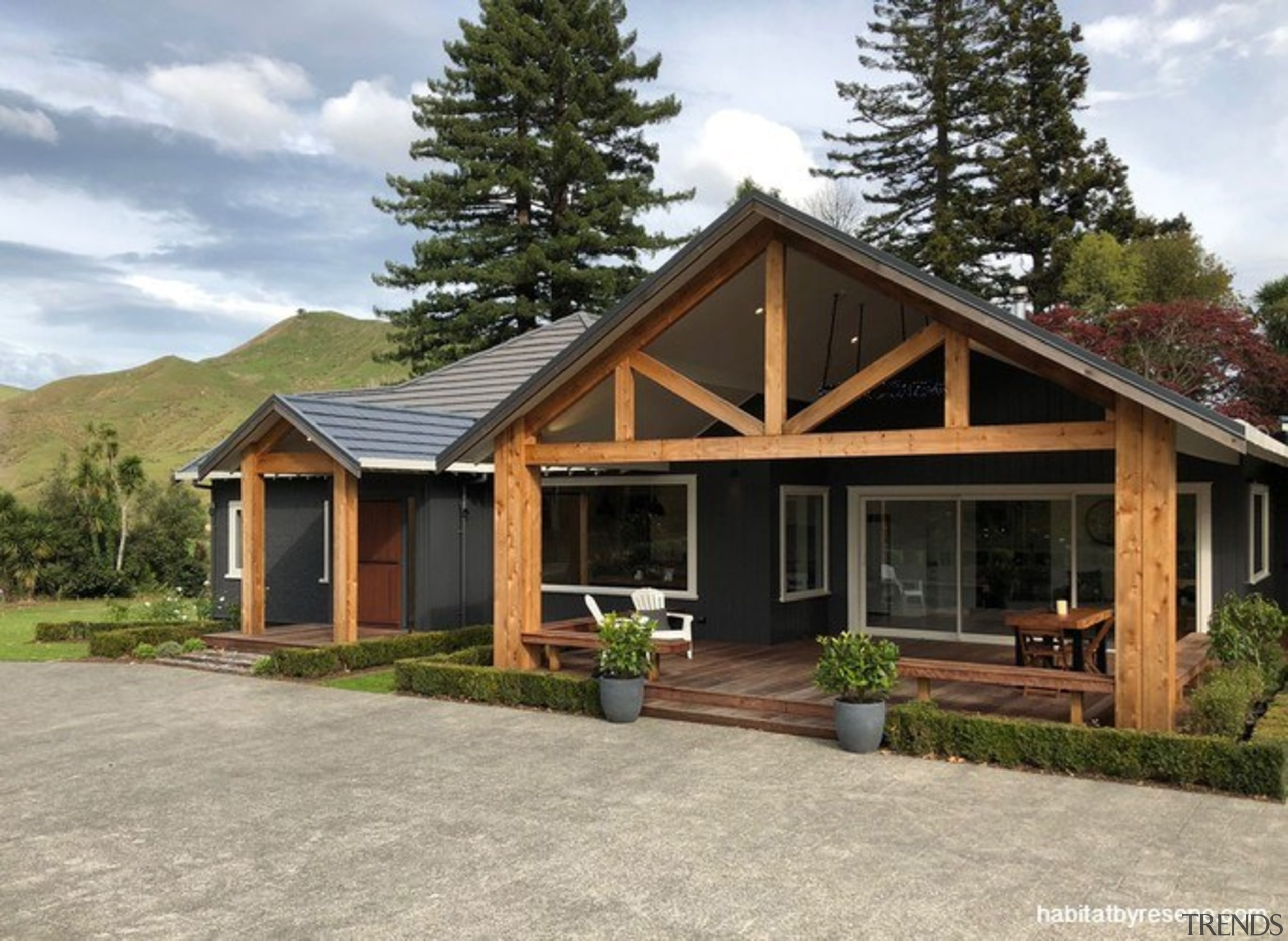 After the renovation - architecture | building | architecture, building, cottage, estate, facade, farmhouse, home, house, landscape, log cabin, property, real estate, rest area, roof, room, shed, siding, tree, wood, gray, brown