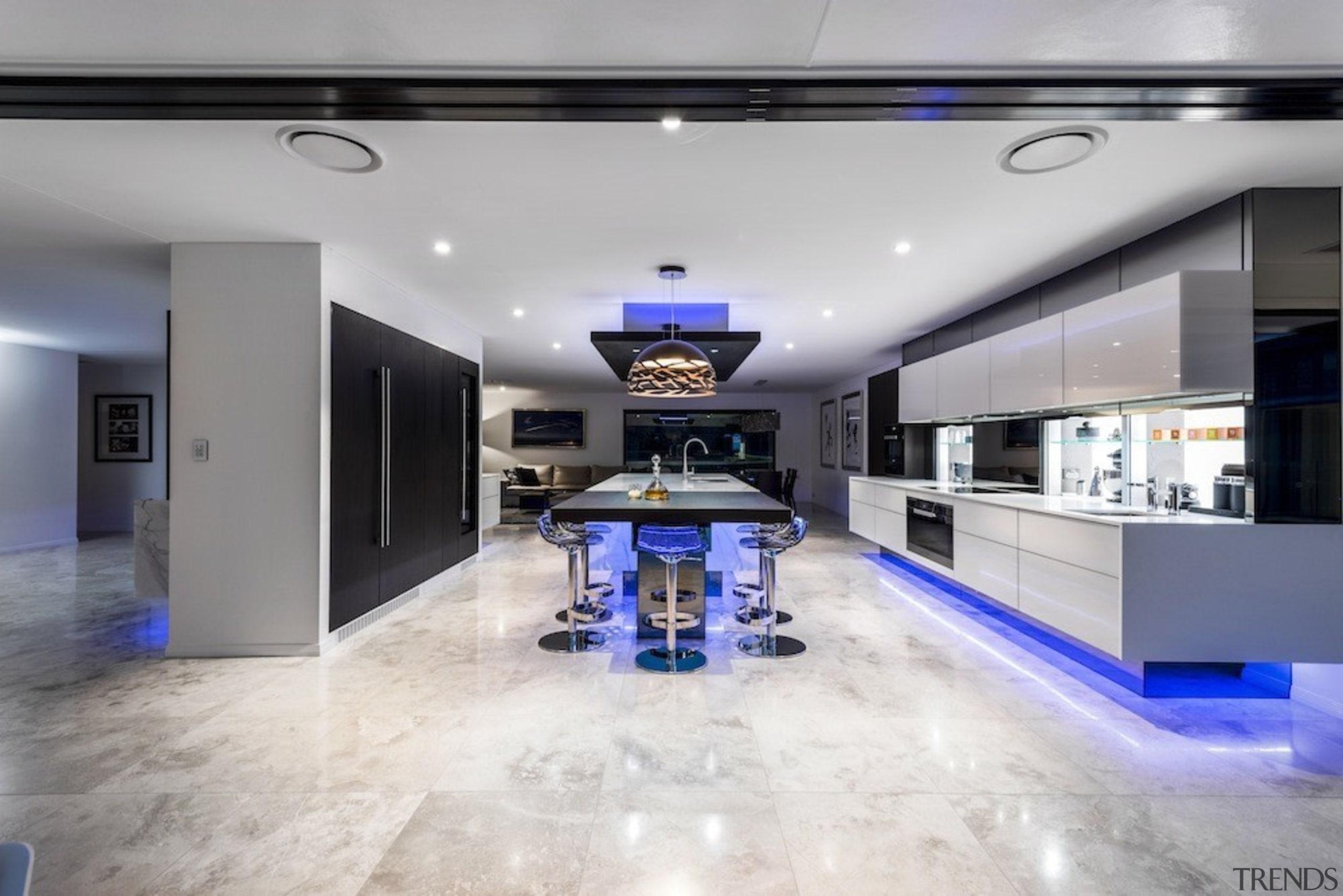 A focus on lighting – Kitchen by designer ceiling, floor, interior design, living room, lobby, property, real estate, gray, white