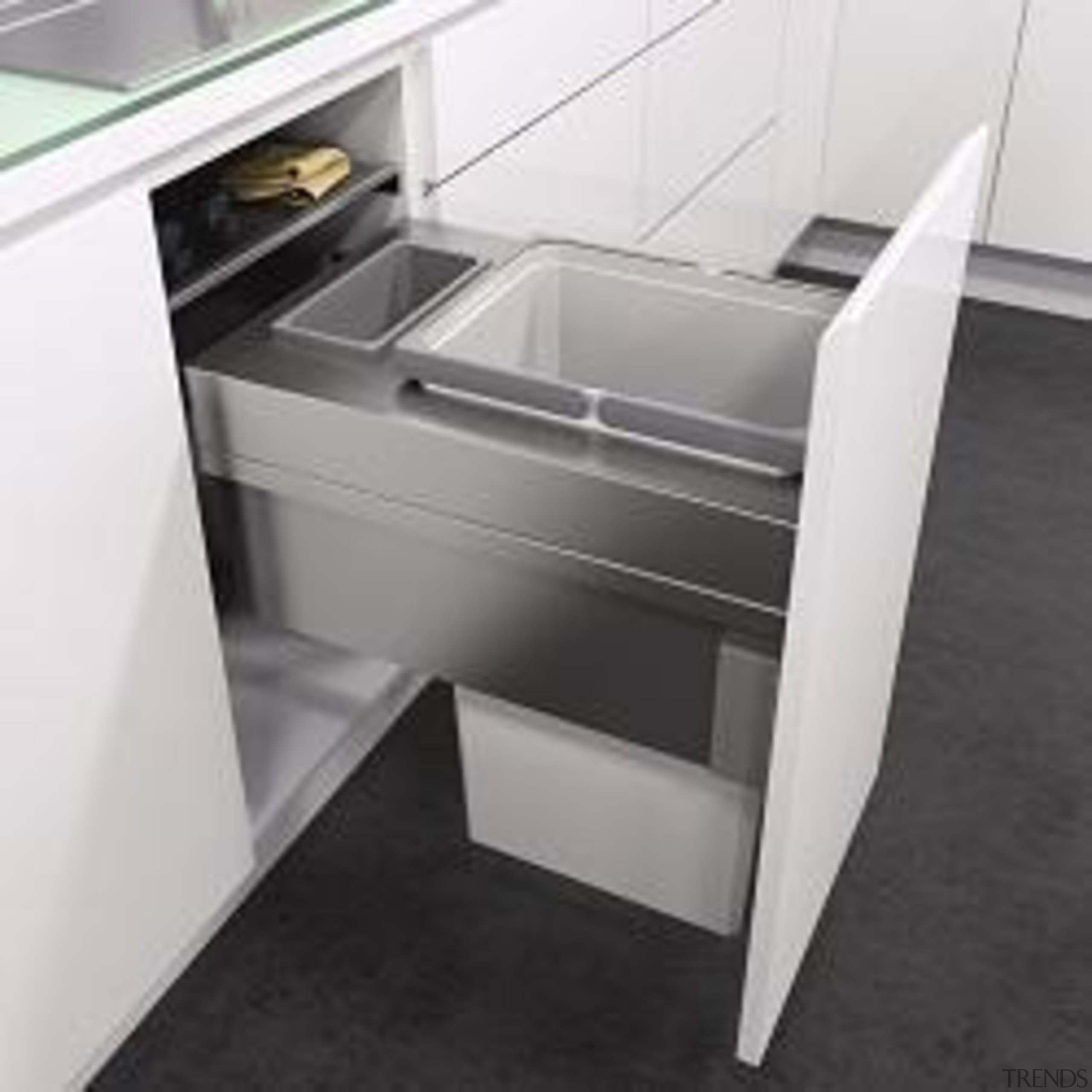 Space saving designIntegrated self close and soft closeAdditional angle, desk, drawer, floor, furniture, plumbing fixture, product, sink, tap, white, black