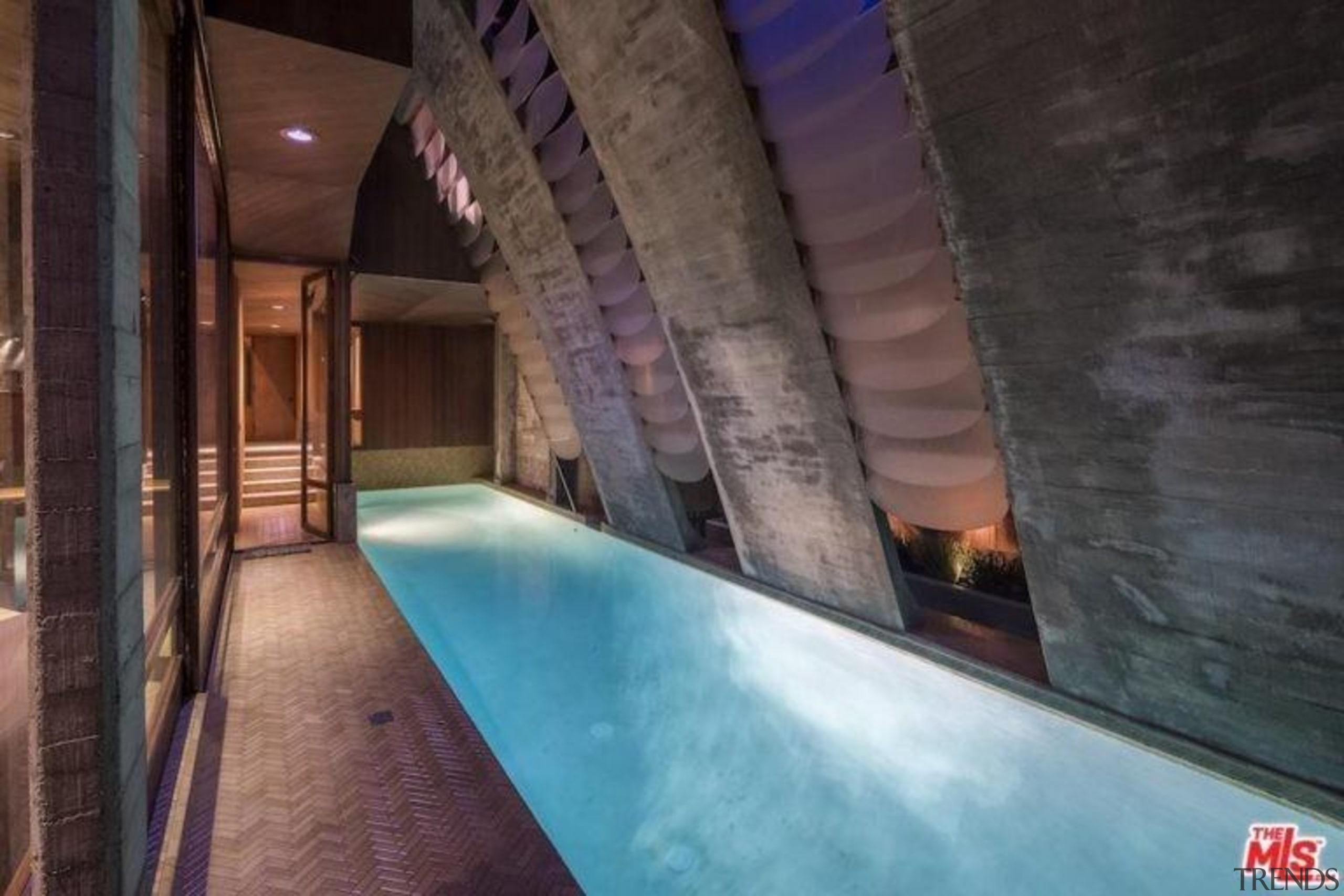 Edward Norton's new Malibu Colony home – Trulia architecture, lighting, property, swimming pool, black