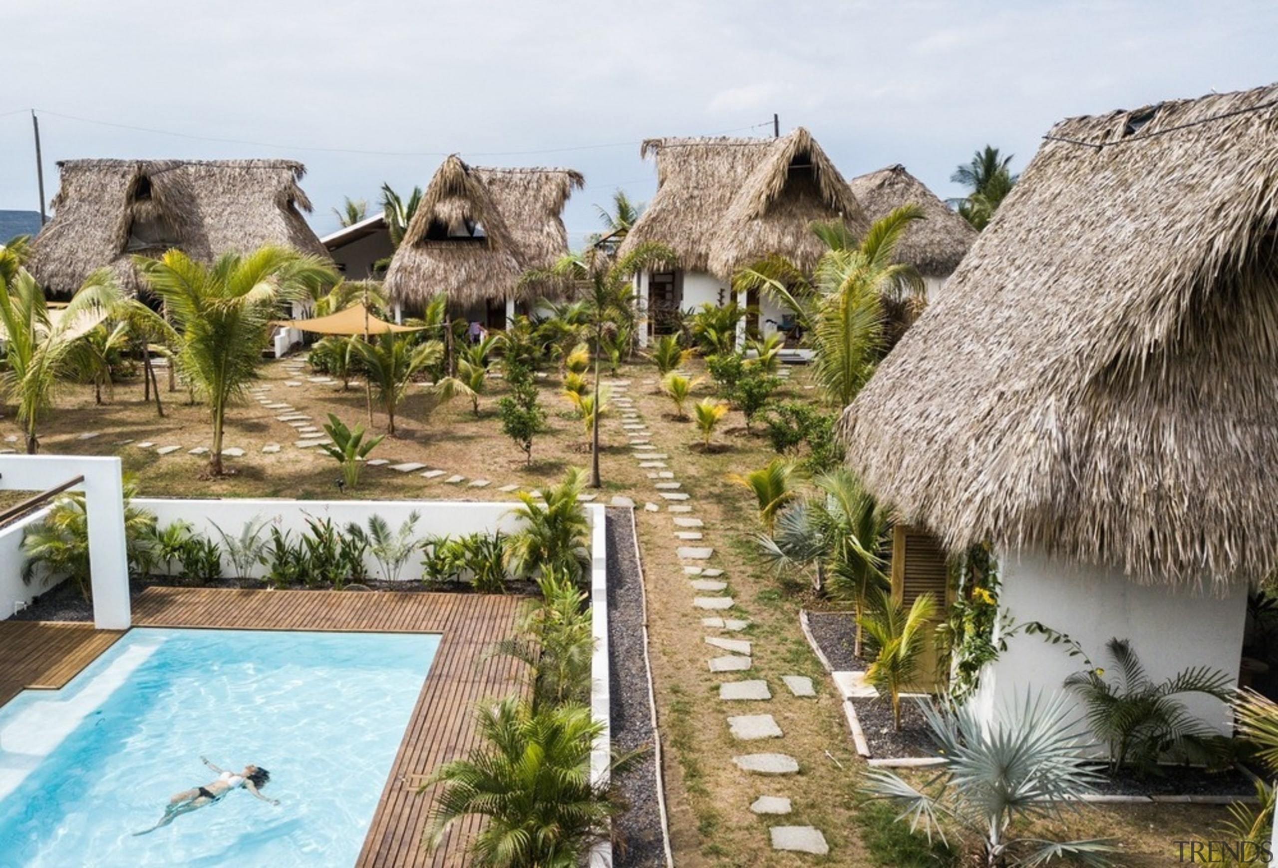 Swell - a surf and lifestyle hotel - building, eco hotel, house, landscape, leisure, real estate, resort, swimming pool, thatching, tourism, vacation, brown, white