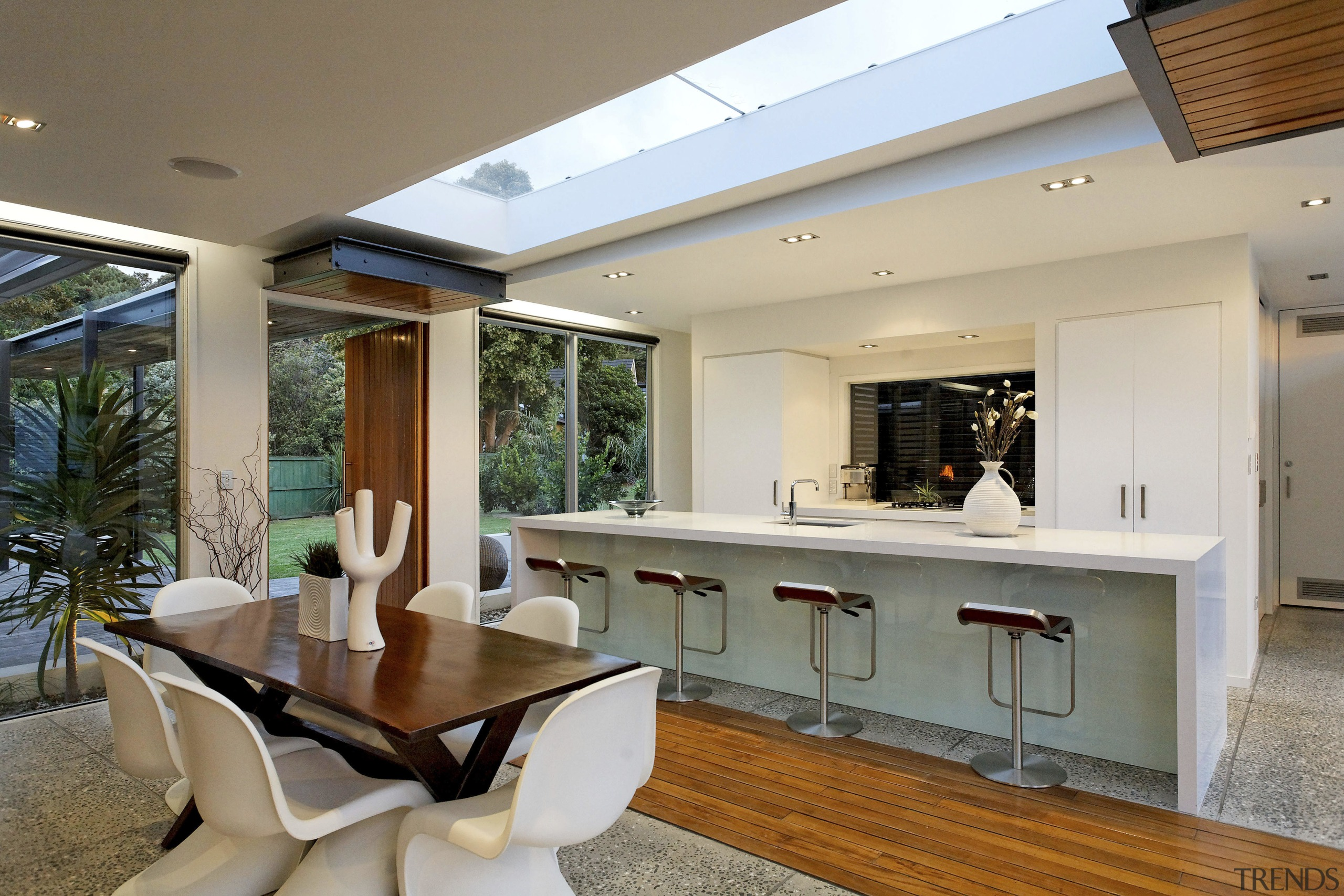 Contemporary home has a skylight above - Contemporary ceiling, estate, house, interior design, living room, property, real estate, window, gray, brown