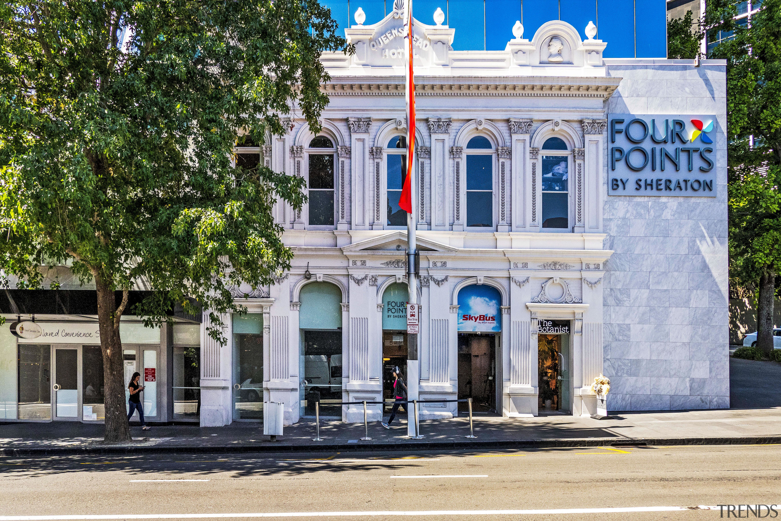 The façade of the original Queen's Head pub architecture, building, facade, Four Points, Sheraton, Hotel, original facade, Russell Poperty Group, Dominion Constructors