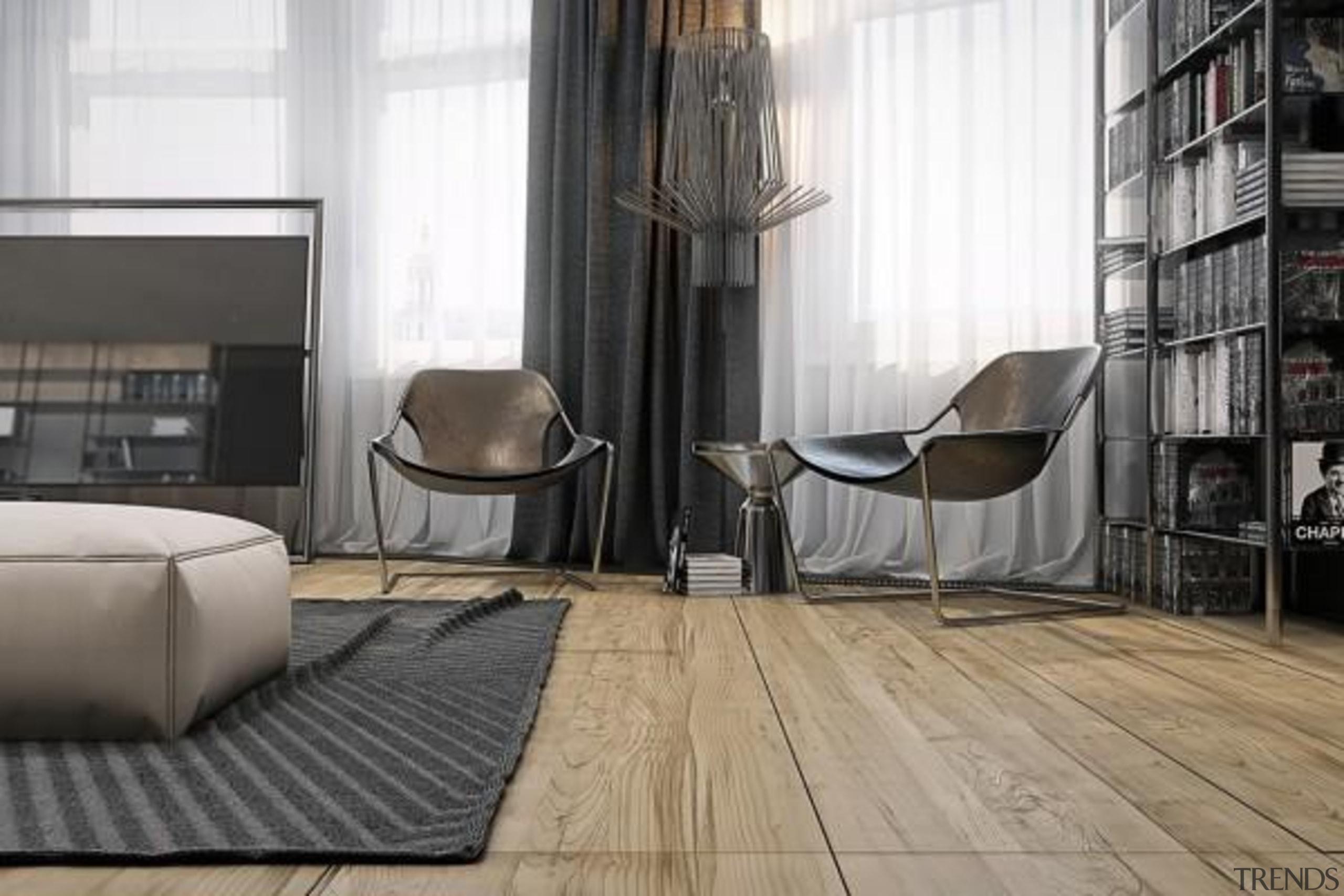 leather sling chairs - Masculine Apartments - architecture architecture, chair, floor, flooring, furniture, hardwood, interior design, laminate flooring, living room, table, tile, window, wood, wood flooring, white, black