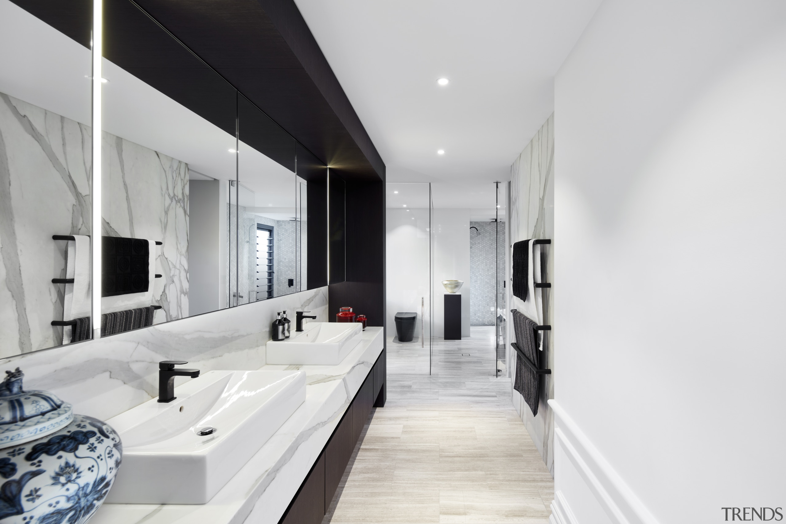 What a difference great design makes. This fresh, architecture, bathroom, black-and-white, interior design, tiles, Archer Design