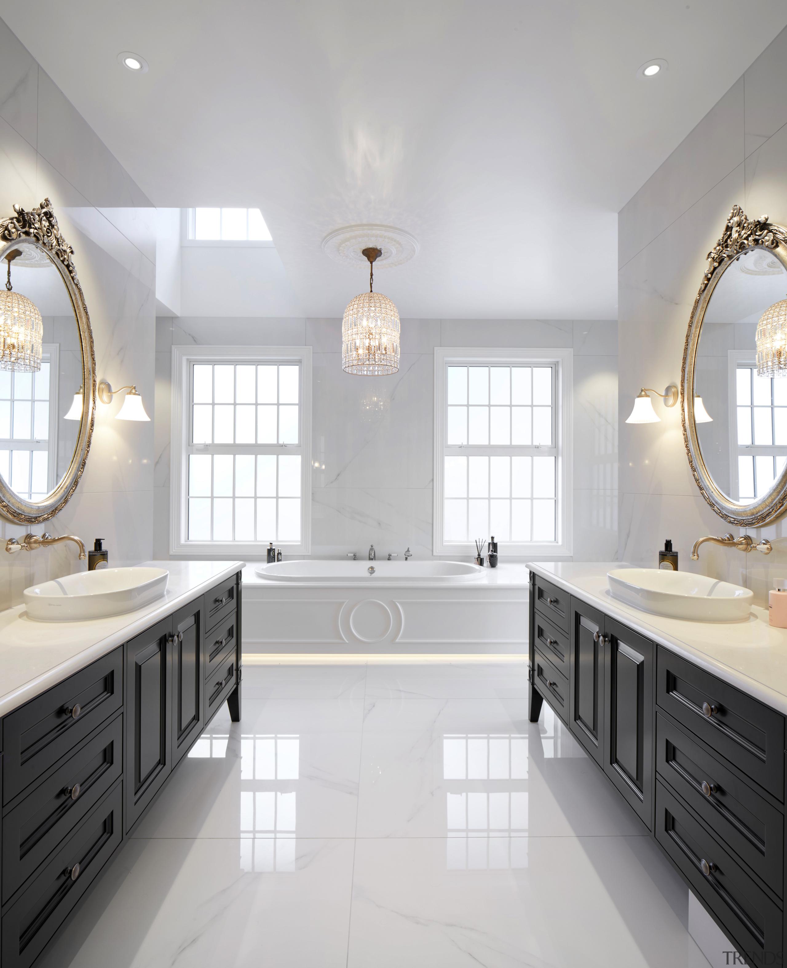 For the main ensuite in this new home, architecture, bathroom, bathroom accessory, bathroom cabinet, cabinetry, floor, flooring, marble, , plumbing fixture, tap, tile, gray, white, vanity, ingrid geldof design