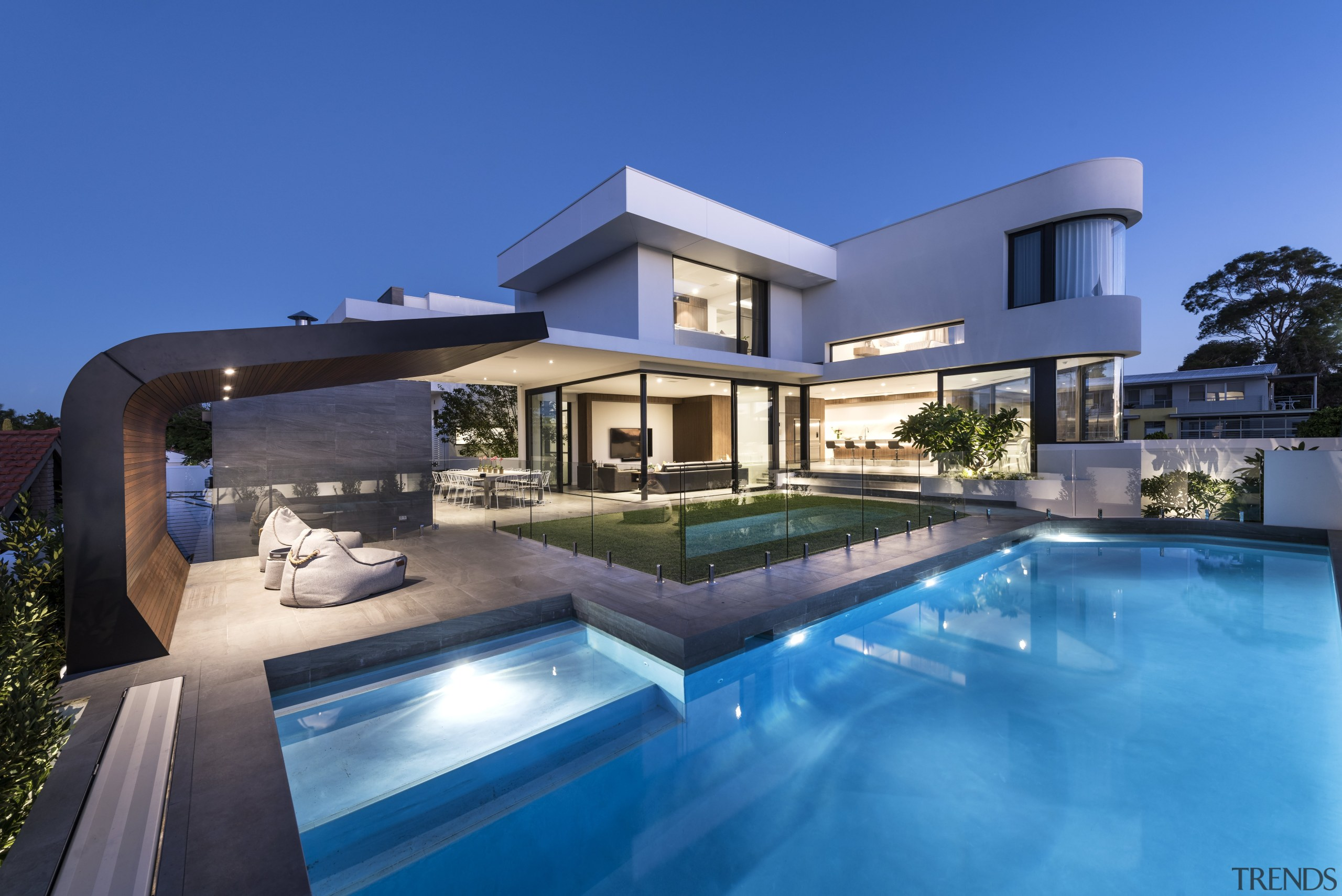 Pool – contemporary new home by Urbane Projects architecture, elevation, estate, facade, family car, home, house, mansion, property, real estate, residential area, resort, swimming pool, villa, blue