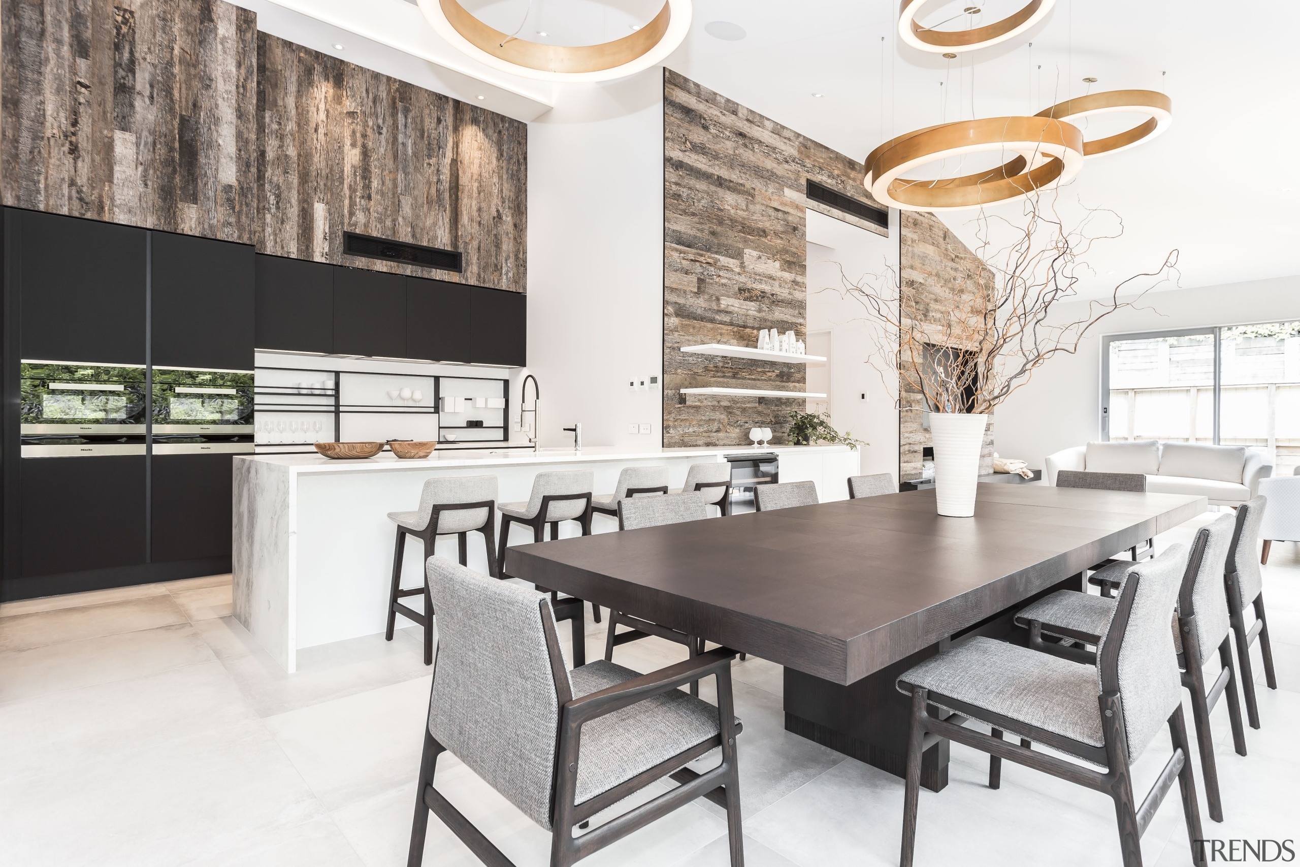 Materials and colours were kept deliberately simple, subtle countertop, dining room, furniture, interior design, kitchen, table, white