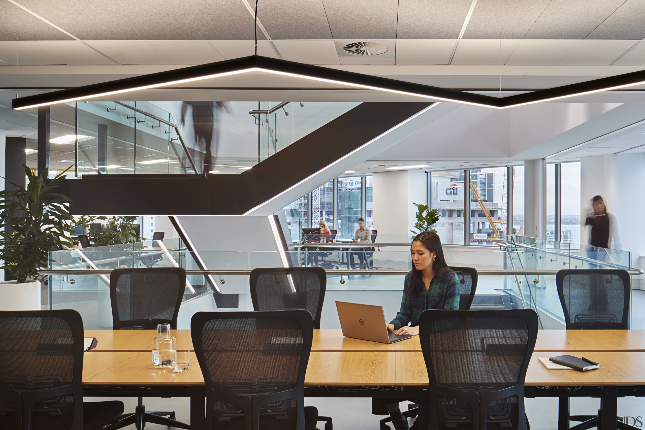 All five Suncorp New Zealand levels in the interior design, office, gray, black