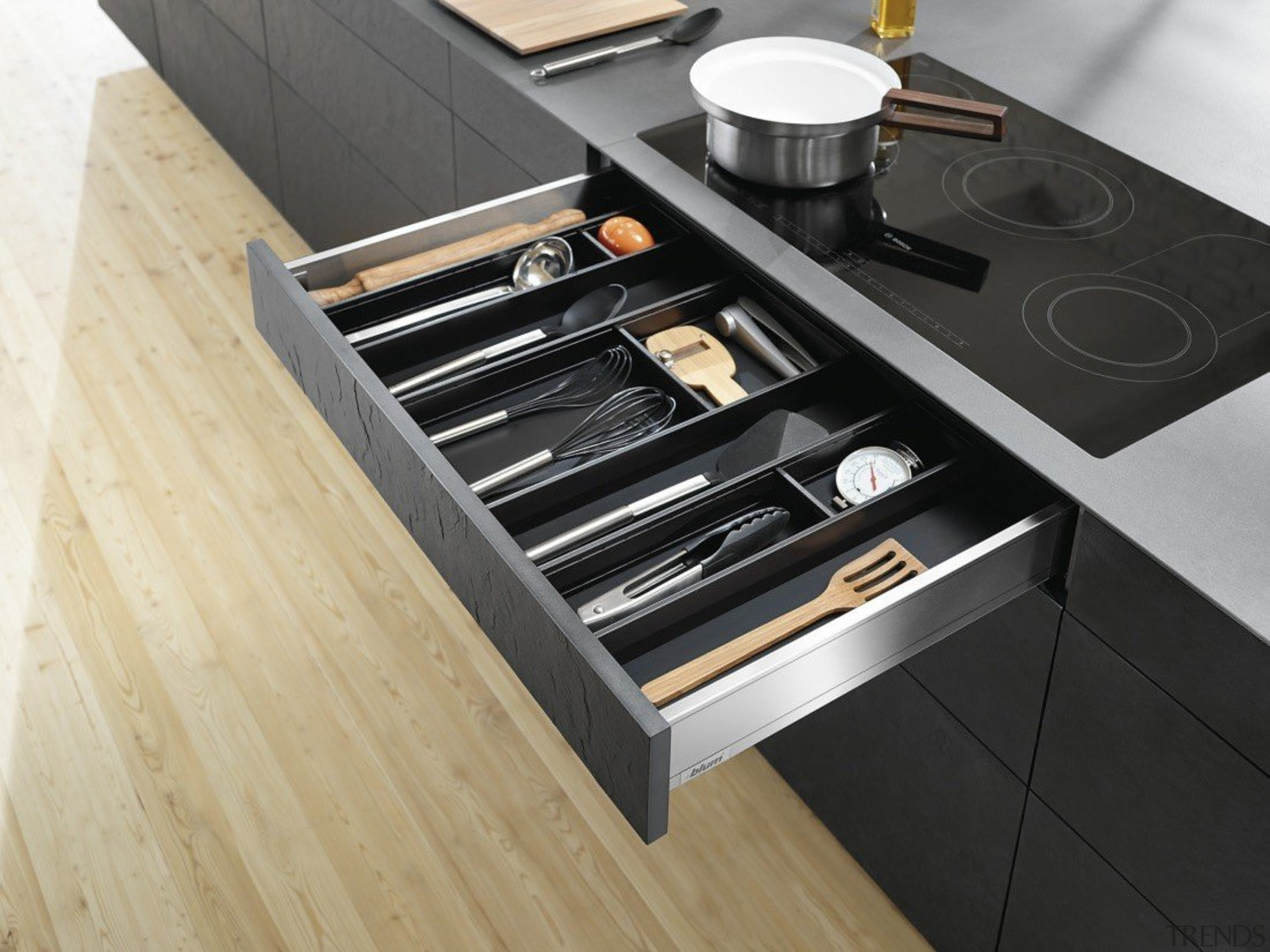 AMBIA-LINE inner dividing system – organization at its countertop, drawer, furniture, kitchen, product design, table, black, orange