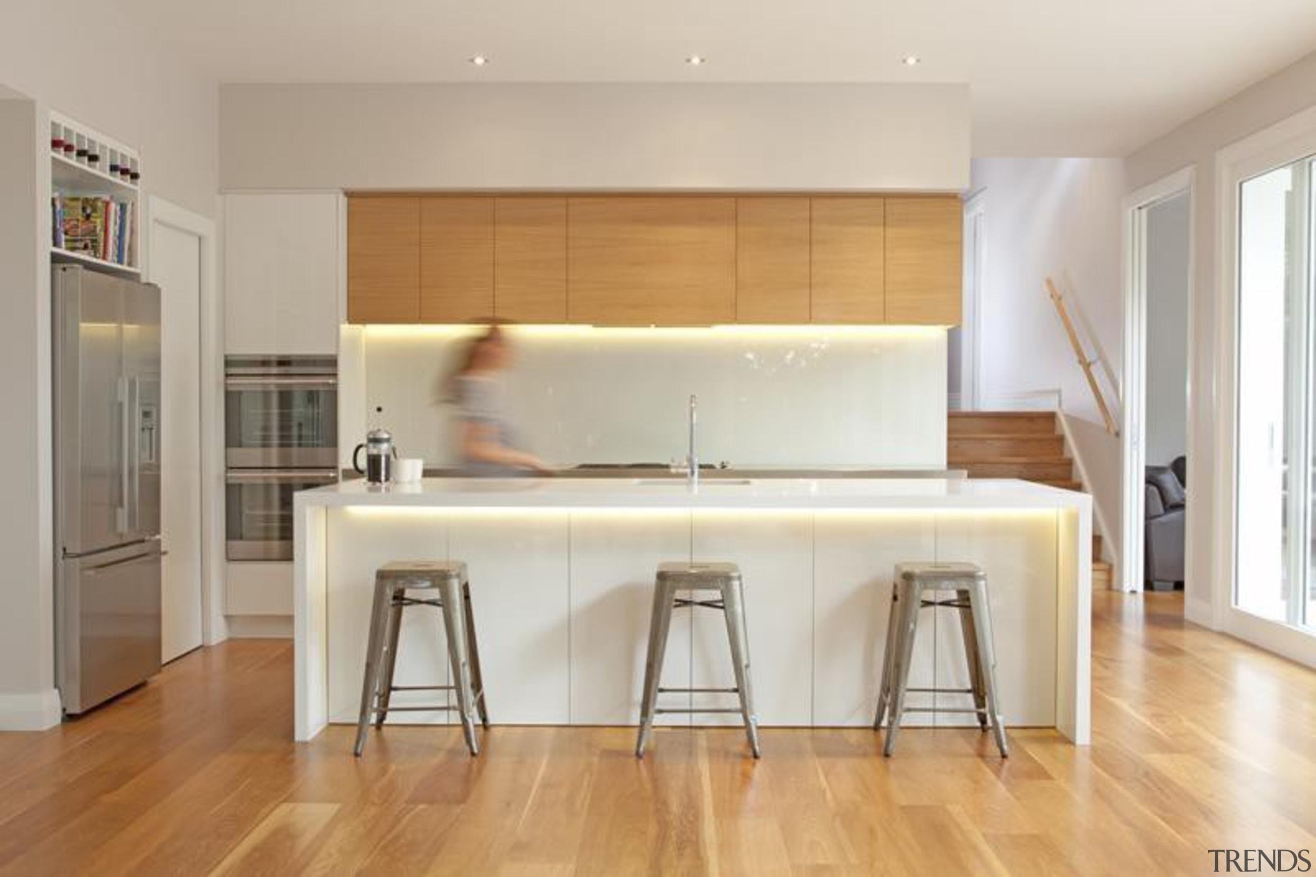 2 pot lacquer and American white oak veneer countertop, floor, flooring, hardwood, interior design, kitchen, laminate flooring, real estate, room, wall, wood, wood flooring, gray