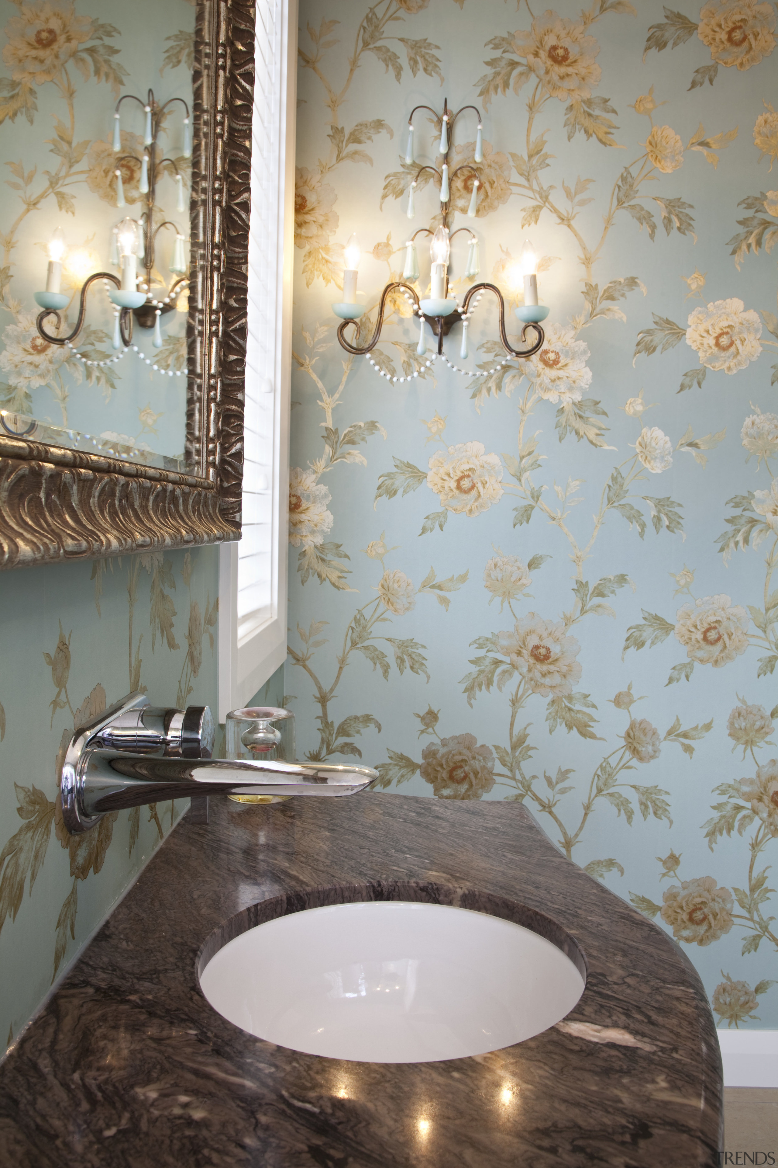 View Of Bathroom With Floral Wallpa Gallery 5 Trends