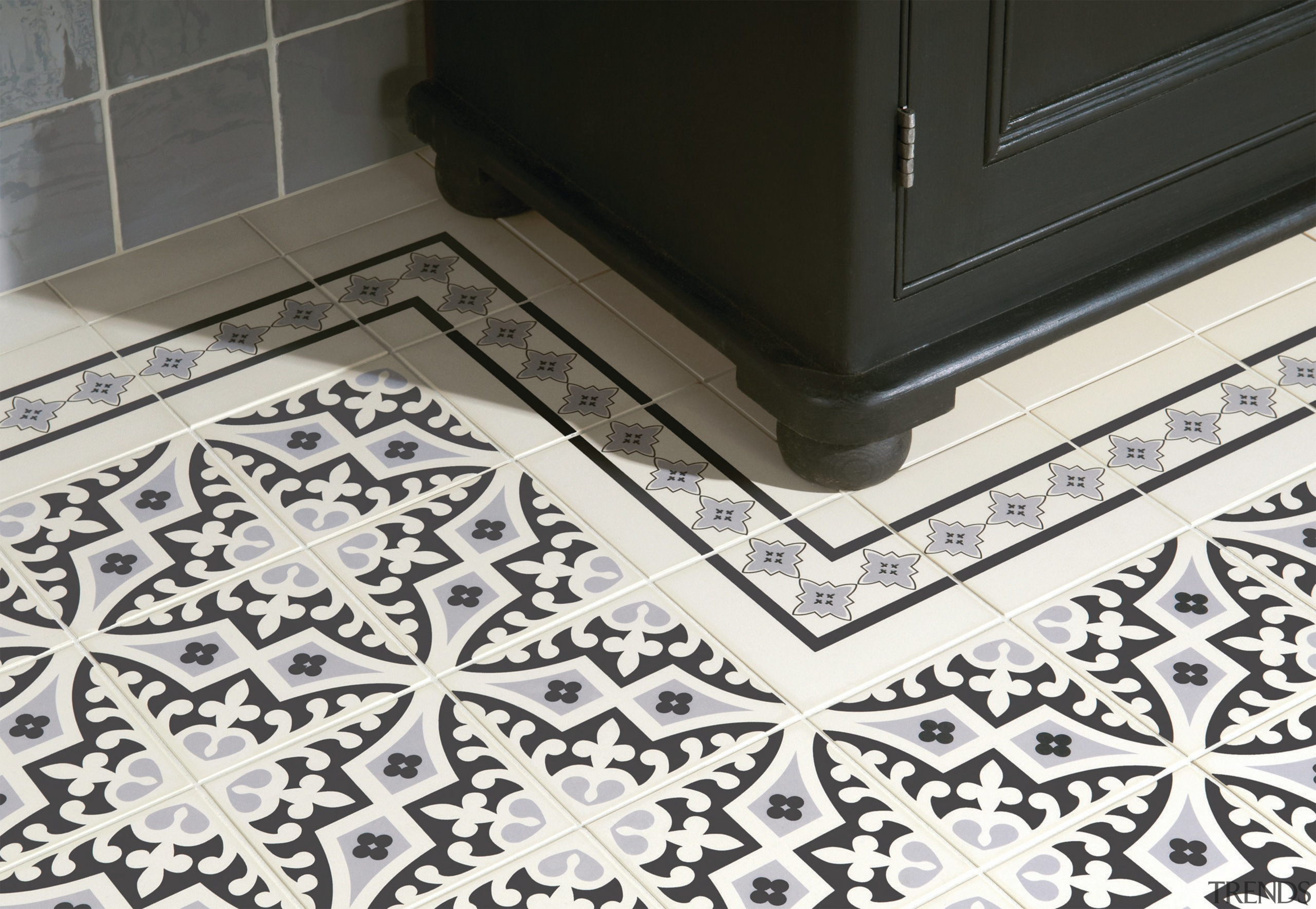 Victorian tessellated tiles are part of the vast floor, flooring, pattern, tile, black, white