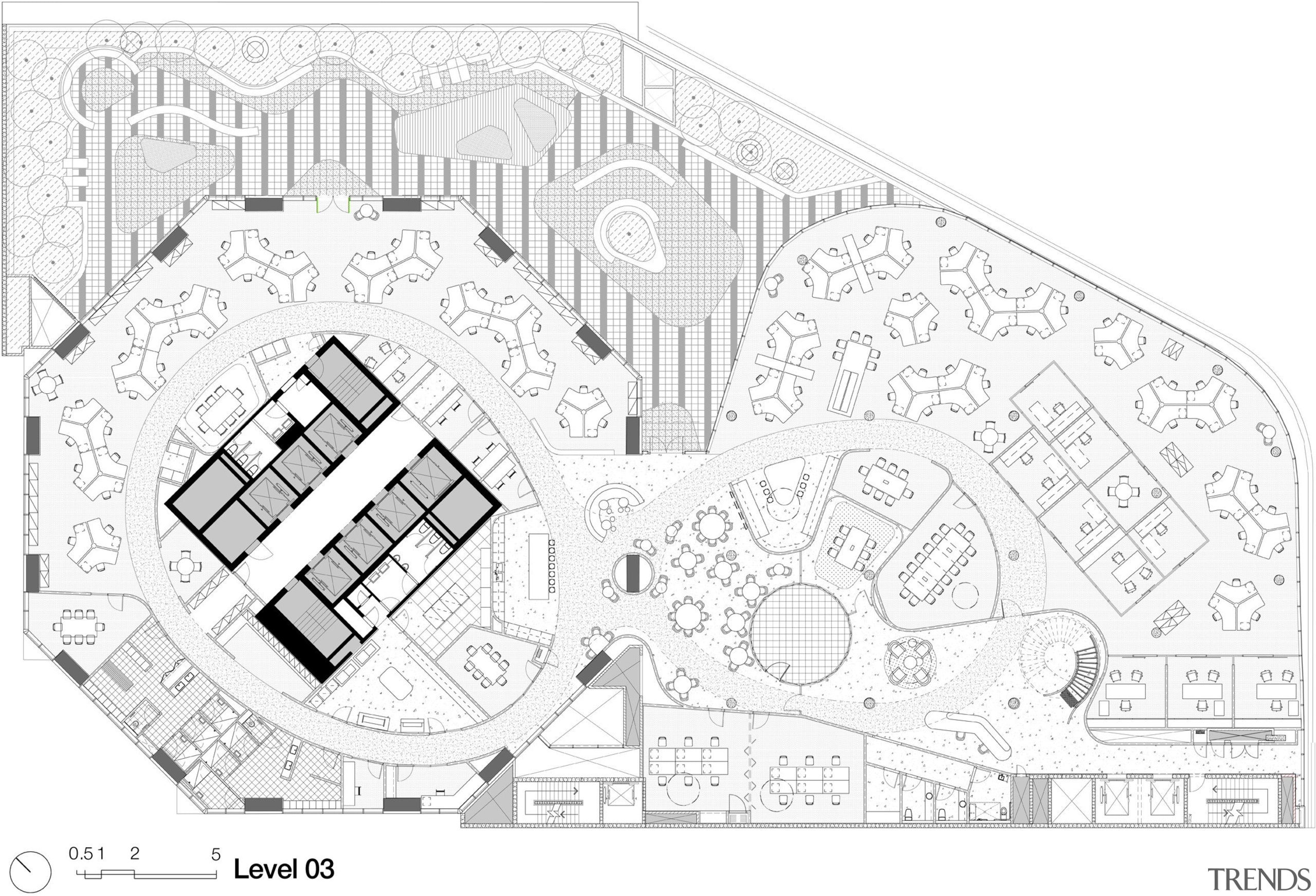 Plan of the Brookfield Multiplex office in Melbourne architecture, area, black and white, design, diagram, drawing, floor plan, font, line, line art, plan, product design, residential area, structure, text, urban design, white
