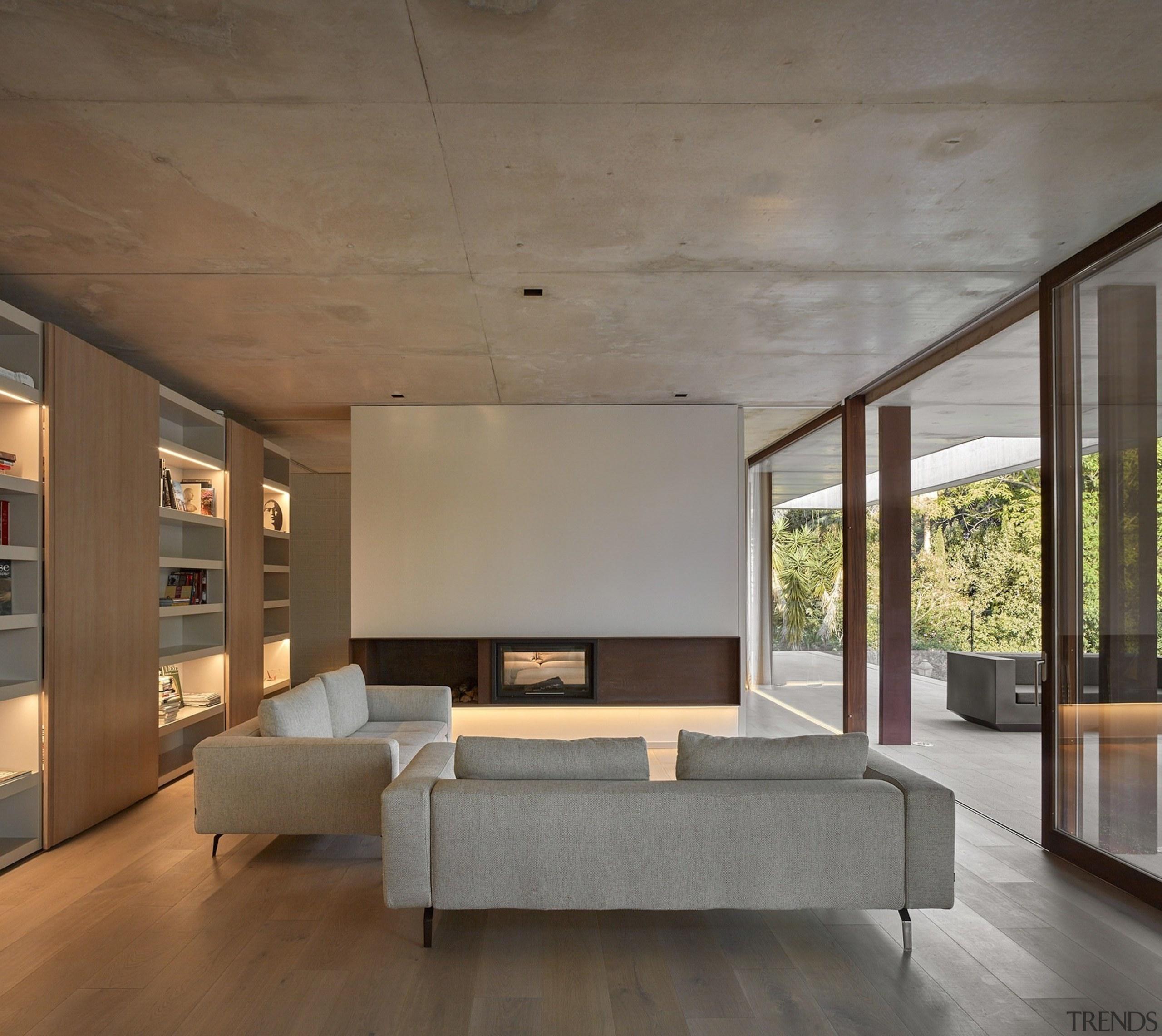Architect: Ramón Esteve Estudio de Arquitectura architecture, bed frame, ceiling, daylighting, floor, flooring, furniture, house, interior design, living room, wall, wood flooring, gray, brown