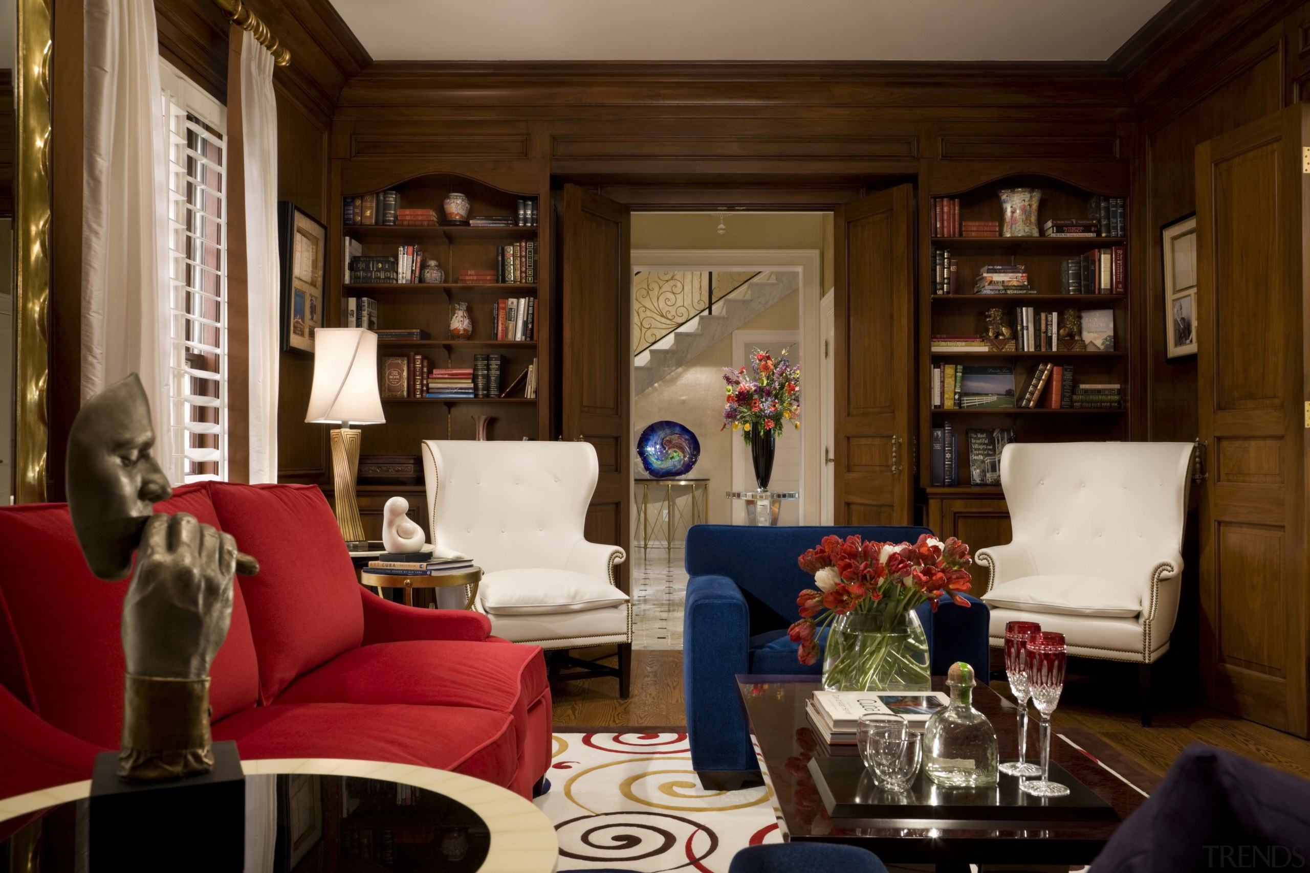 View of living area with furniture - View couch, furniture, home, interior design, living room, room, red, brown