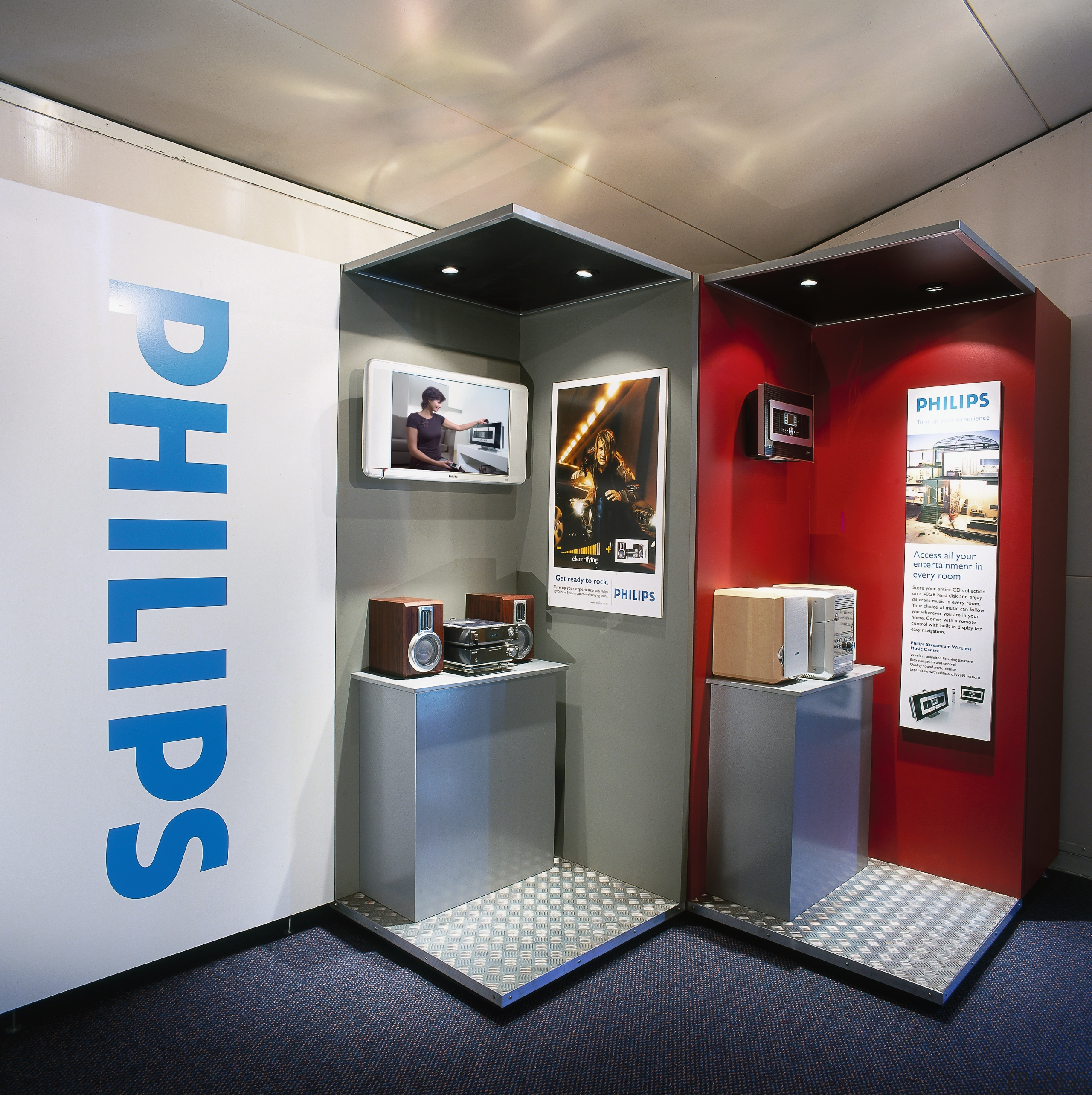 view of the phillips dvd microsystem offers big exhibition, interior design, gray