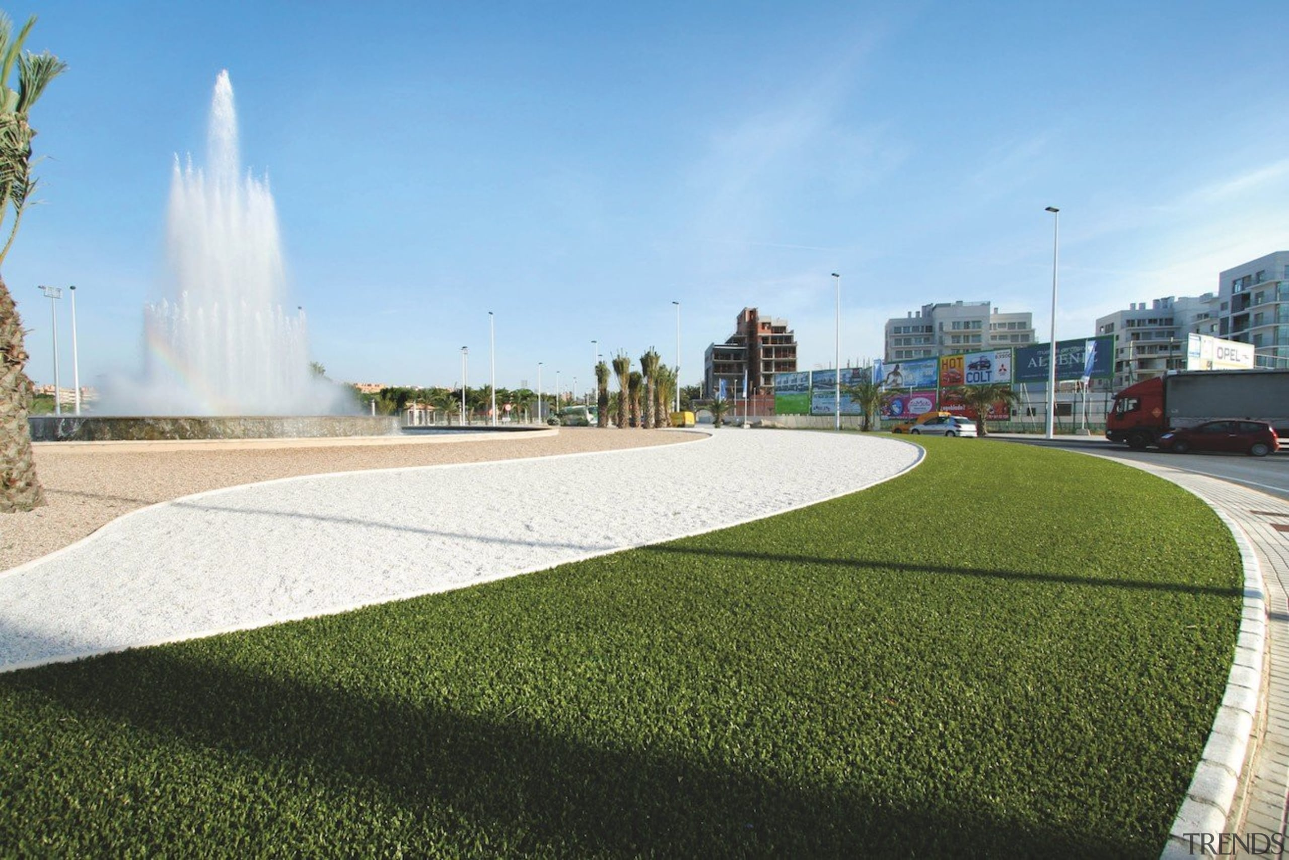 Commercial landscape - architecture | asphalt | grass architecture, asphalt, grass, landscape, lawn, plant, real estate, residential area, sky, urban design, water resources, teal, brown, white