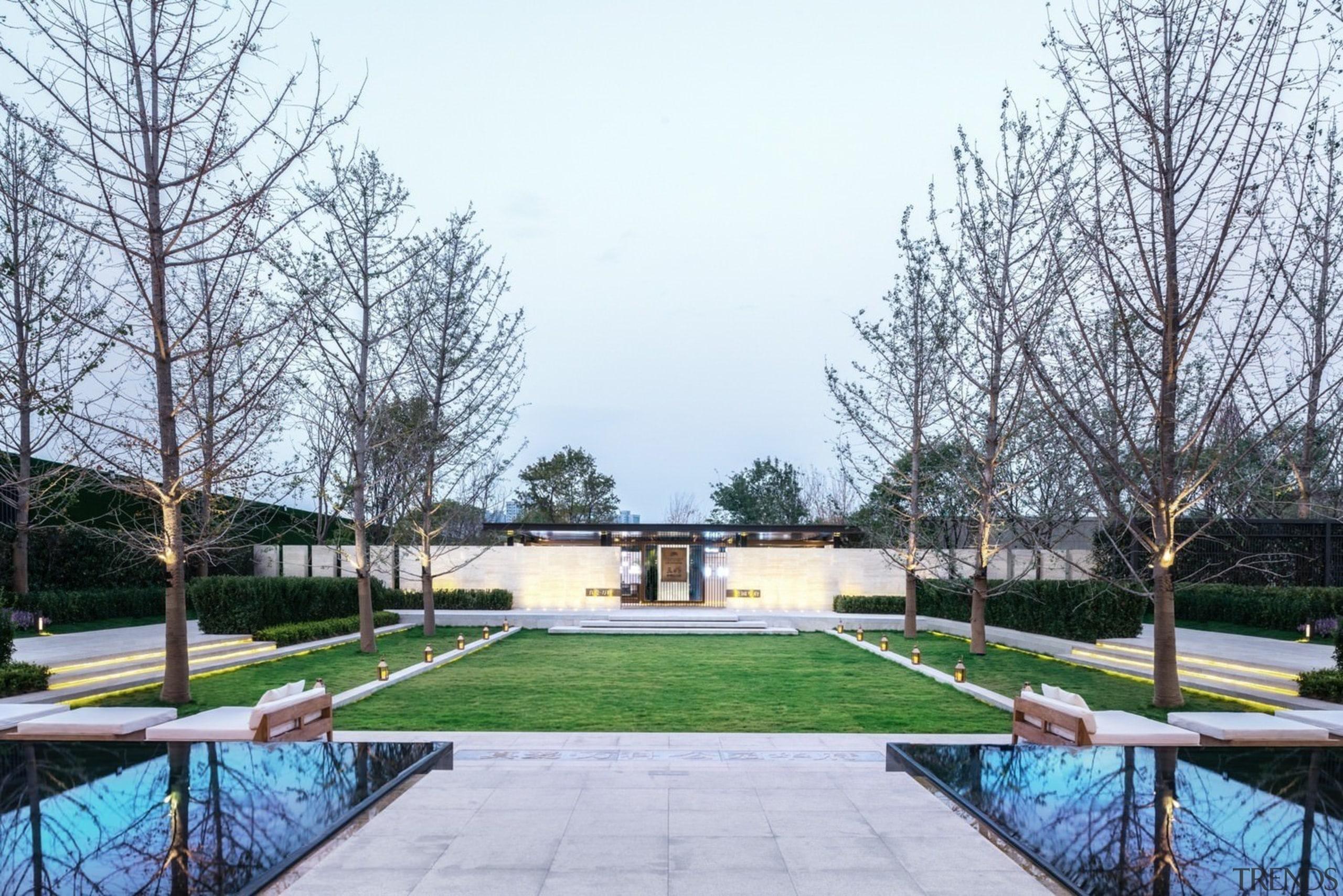 Vanke Park Mansion 'True Love' – FLOscape Landscape architecture, estate, garden, leisure, outdoor structure, park, plant, property, real estate, residential area, tree, white, gray