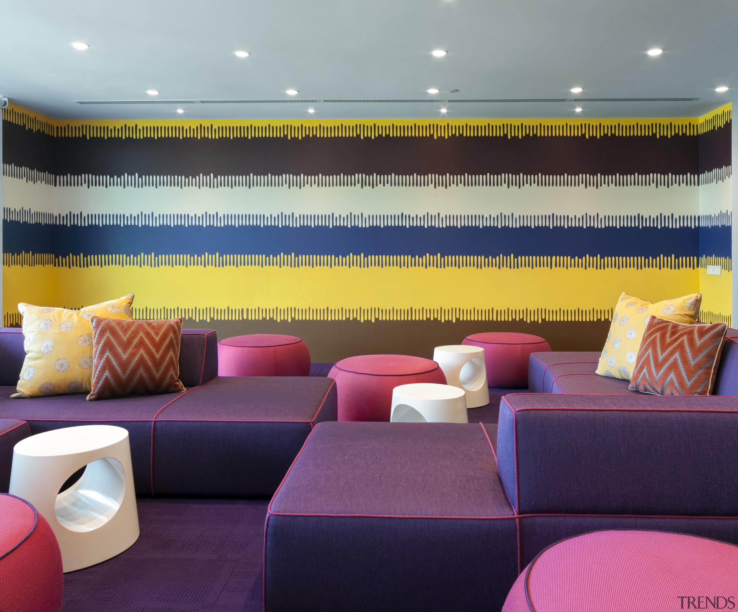 AkzoNobel House (Singapore) Interior design - AkzoNobel House ceiling, couch, interior design, living room, purple, wall, wallpaper, purple