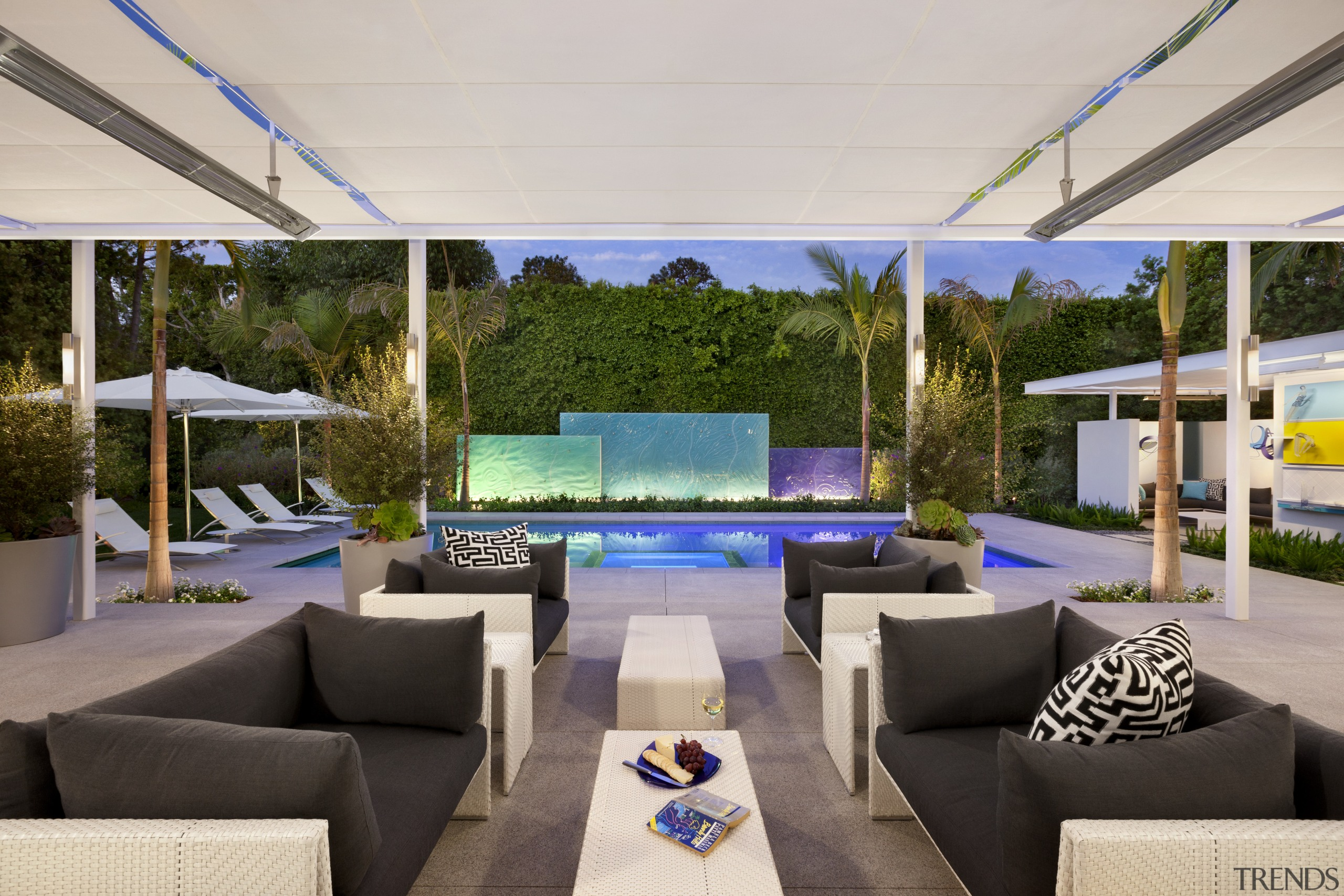 There are dramatic sightlines from the interiors of estate, interior design, real estate, gray
