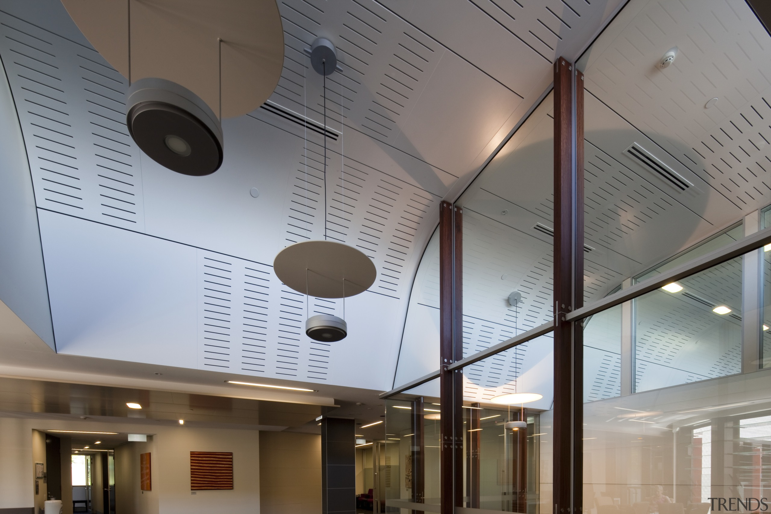 Interior view of the Poshe Centre which features architecture, ceiling, daylighting, glass, gray
