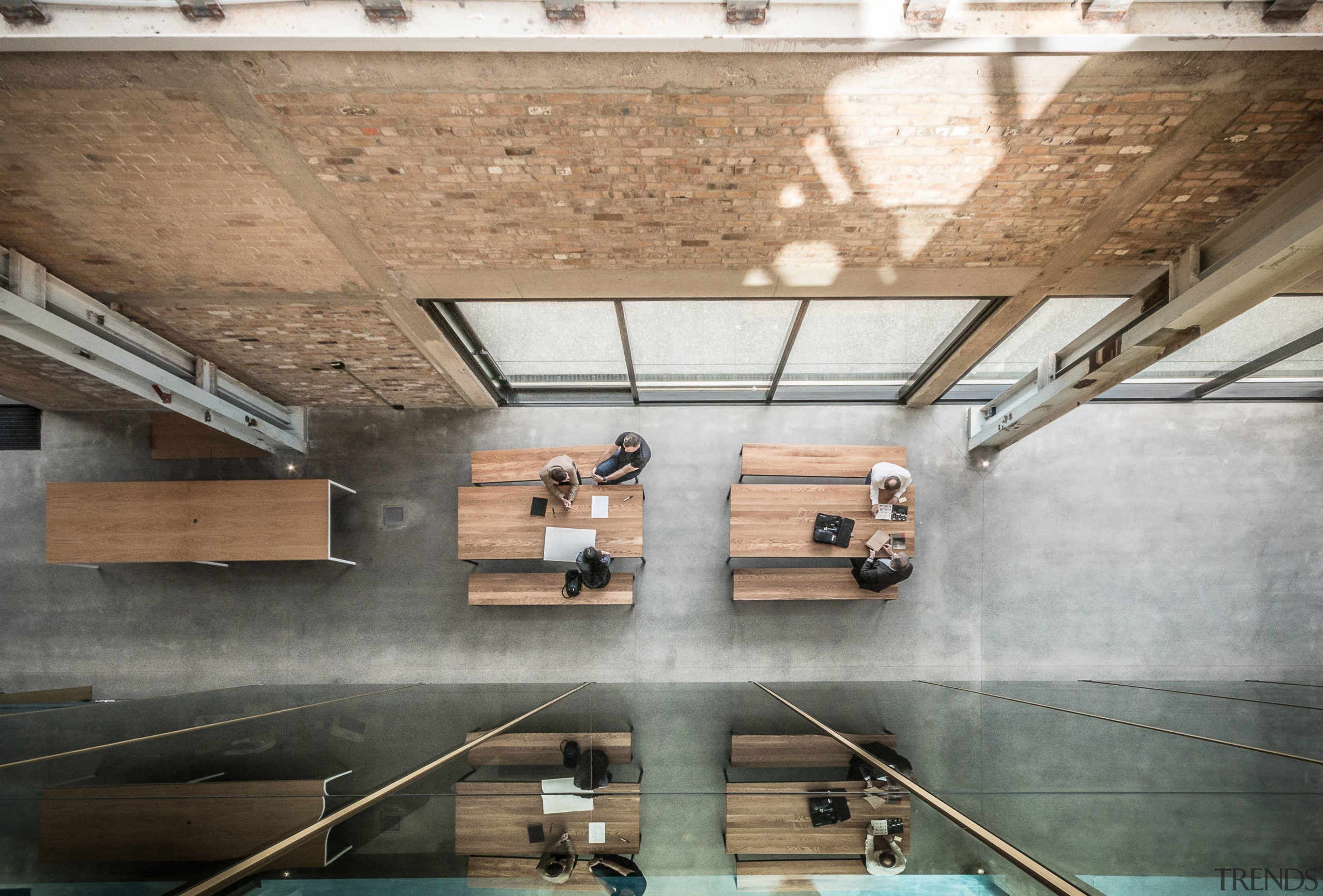 The Warren & Mahoney cafe spills out into architecture, ceiling, daylighting, floor, interior design, tourist attraction, wood, gray