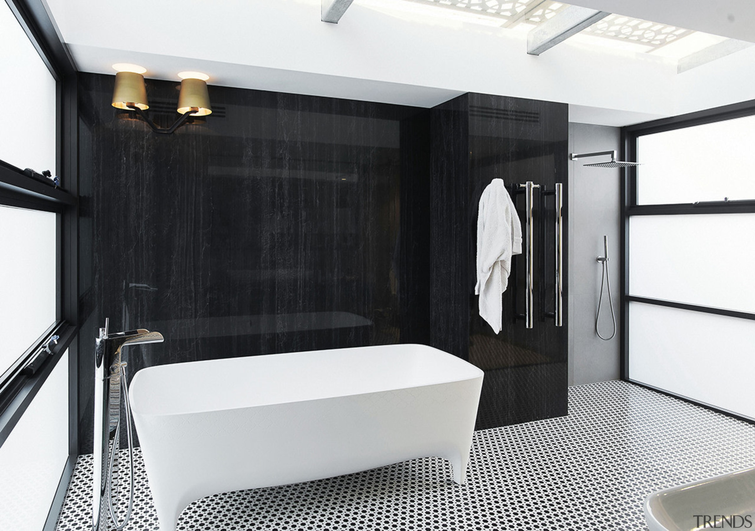 Large porcelain panels create a wood-look feature surface bathroom, floor, interior design, room, white, black, porcelain panels, towel rail, sconces