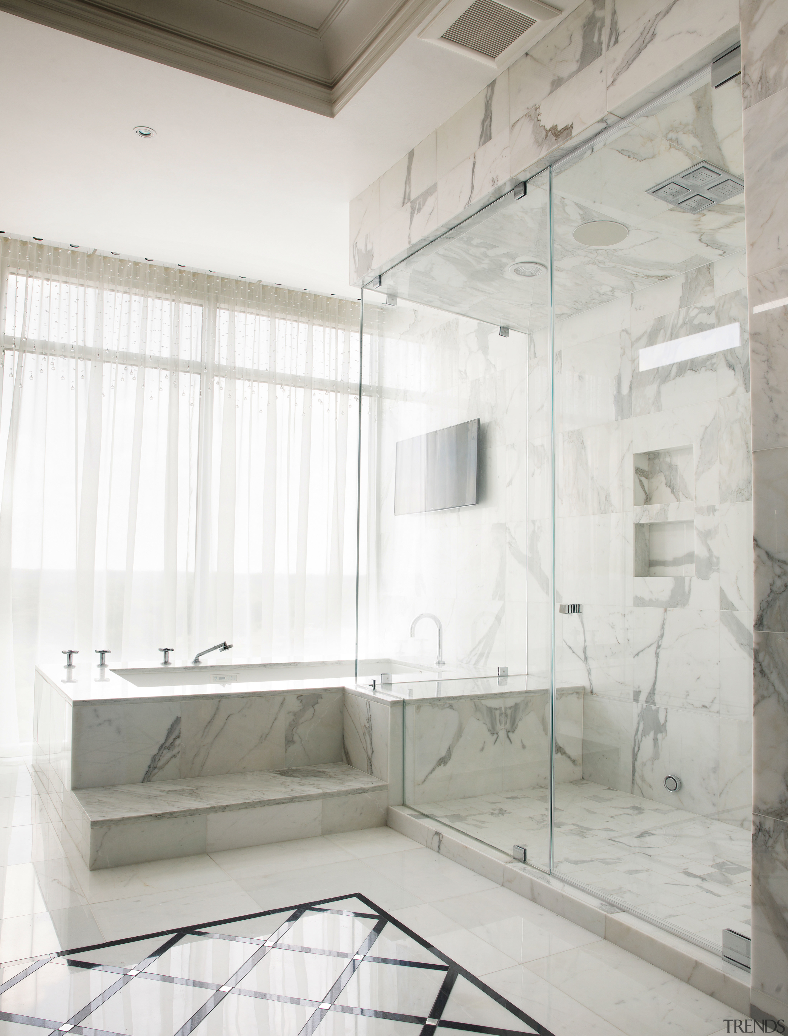 Strong geometric forms and a glass shower stall architecture, bathroom, floor, flooring, interior design, plumbing fixture, product design, room, tile, white