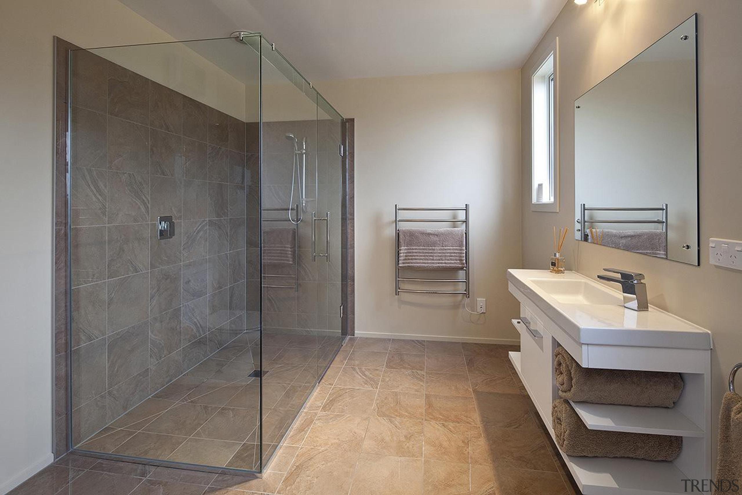 For more information, please visit www.gjgardner.co.nz architecture, bathroom, floor, home, interior design, property, real estate, room, tile, gray