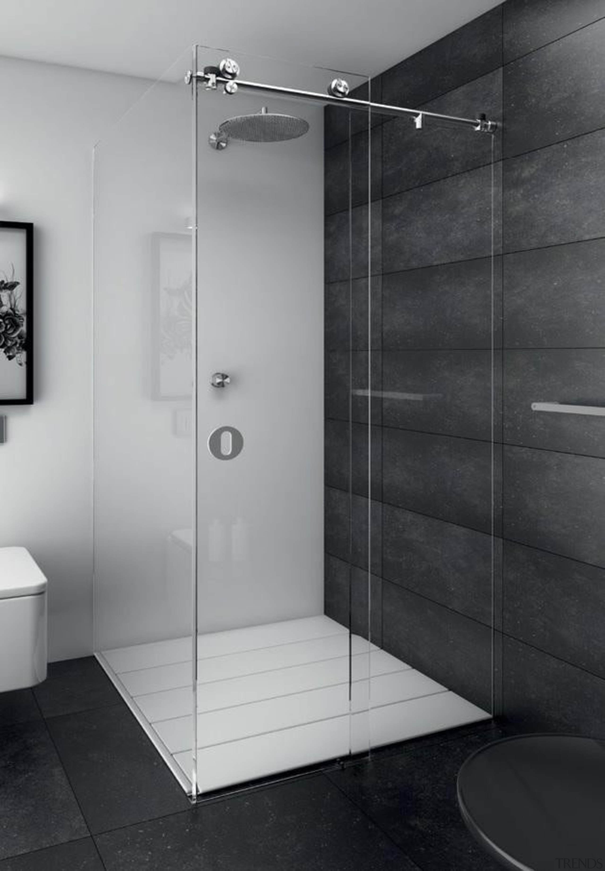 Mardeco International Ltd is an independent privately owned angle, bathroom, floor, glass, interior design, plumbing fixture, product design, shower, tile, gray, black