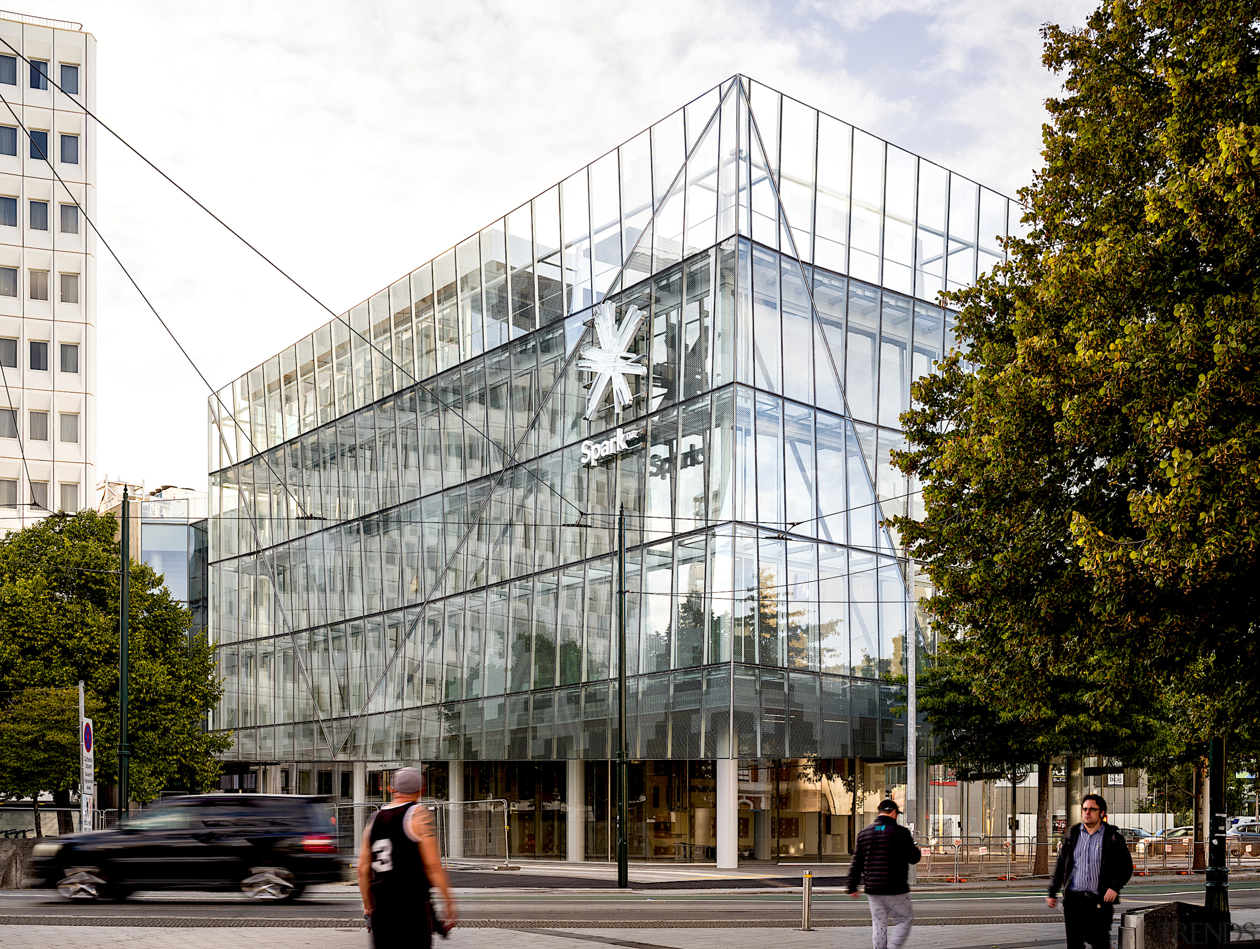 The Spark building has a double glass facade,