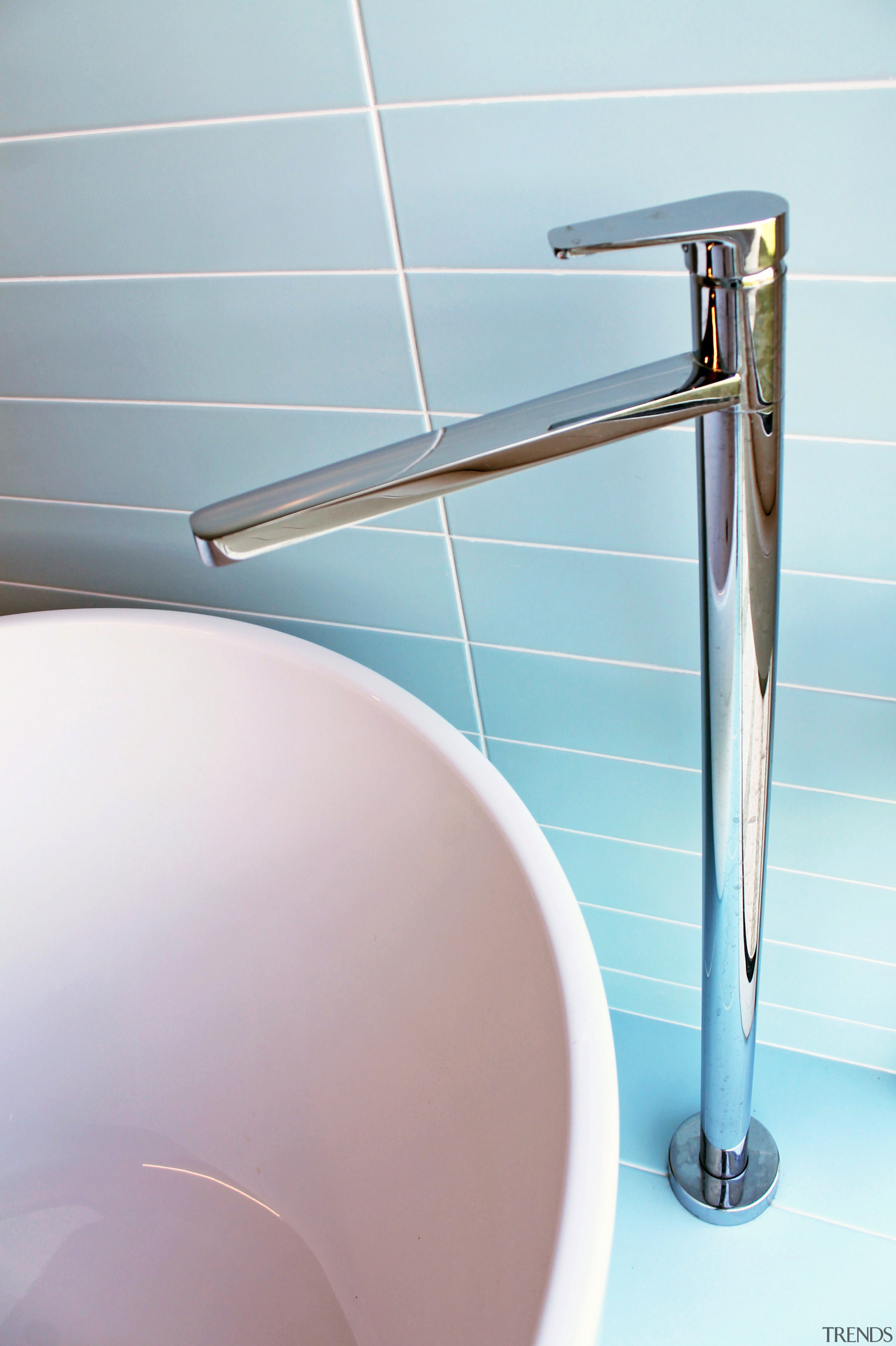 ​​​​​​​Chrome tapware and pale blue tilework are just bathroom, plumbing fixture, tap, faucet, Frans Kamermans
