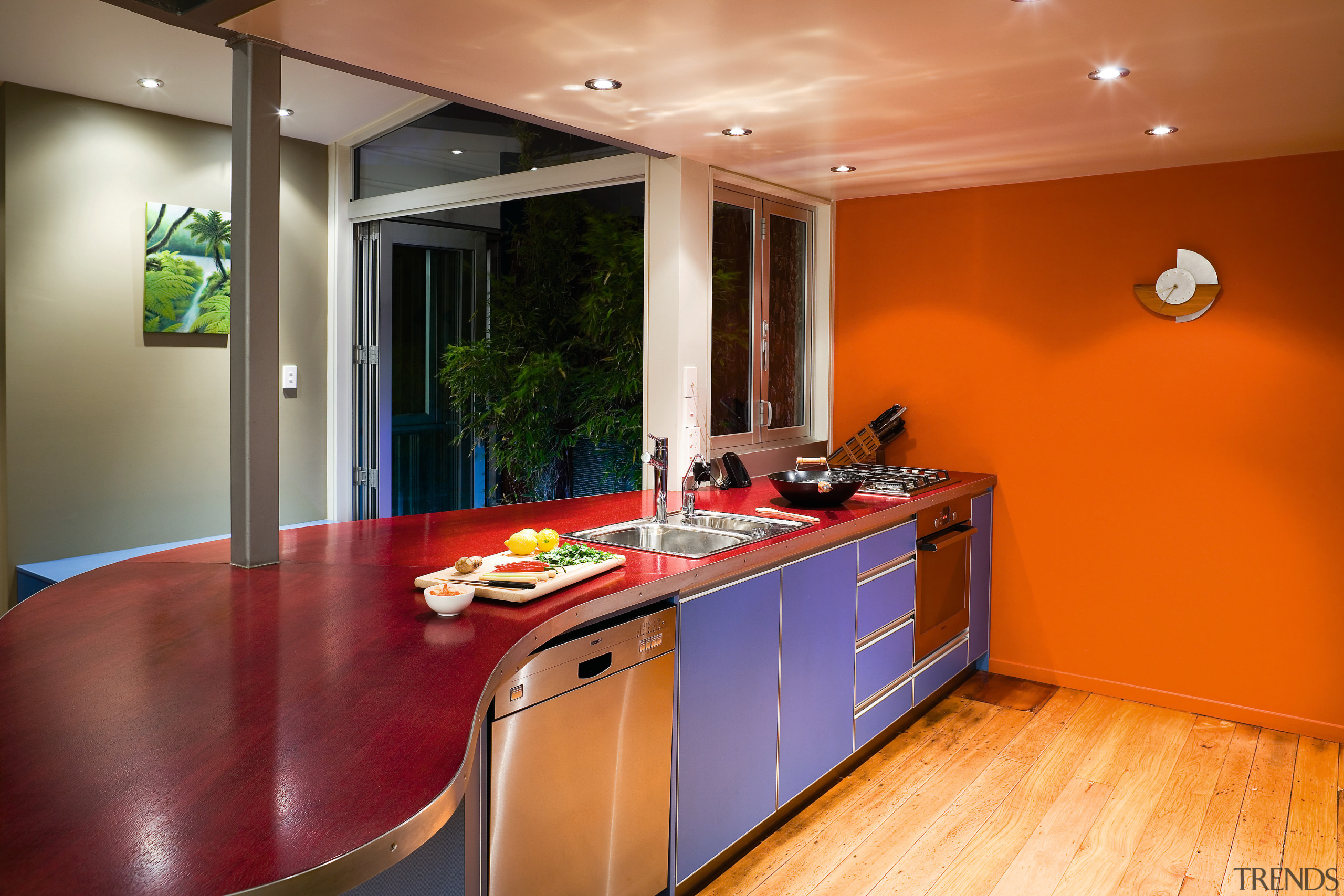 A view of this renovated ktichen featuring polished countertop, floor, interior design, kitchen, real estate, room, brown