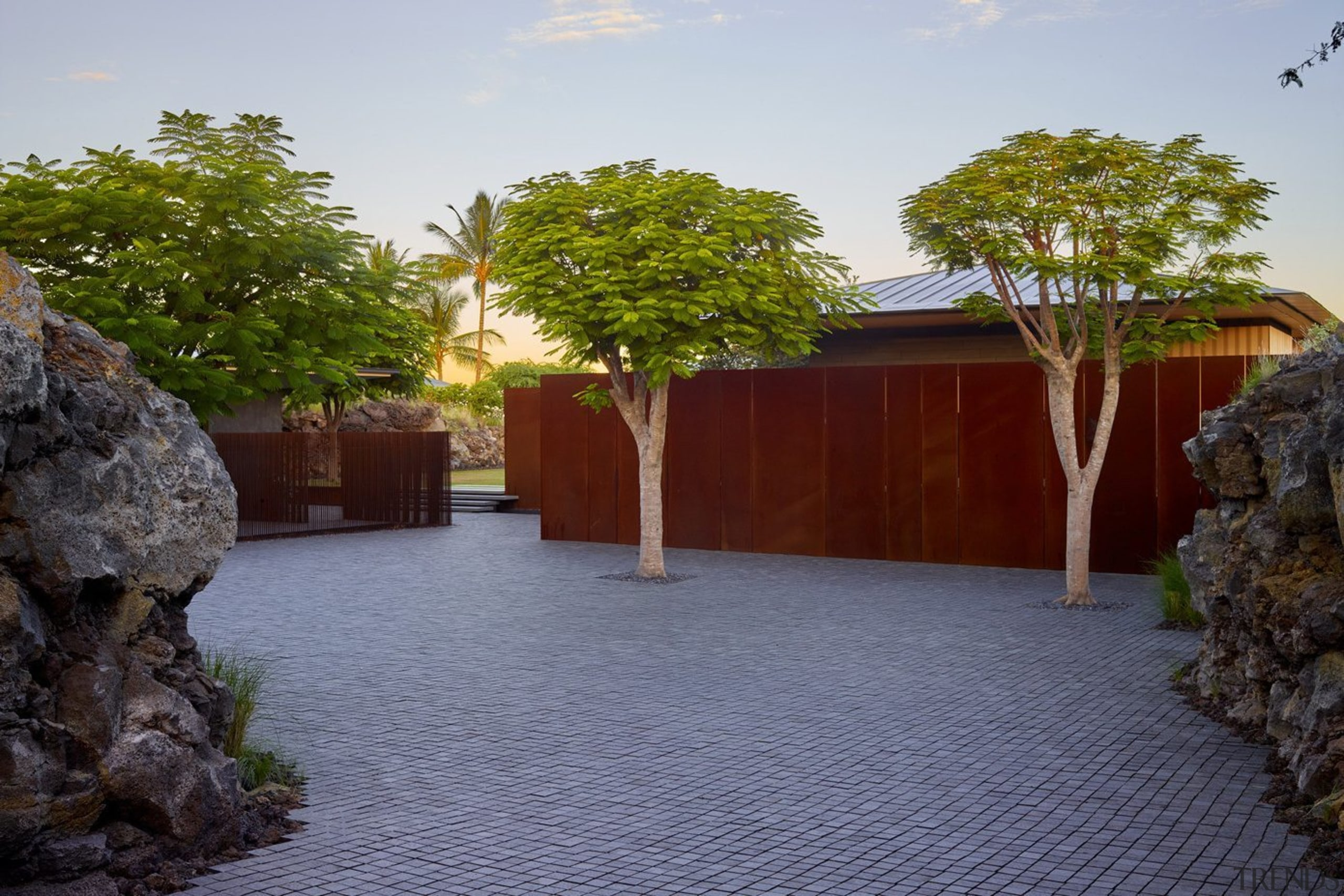 Sculptural and spacious, this landscape design draws on blue
