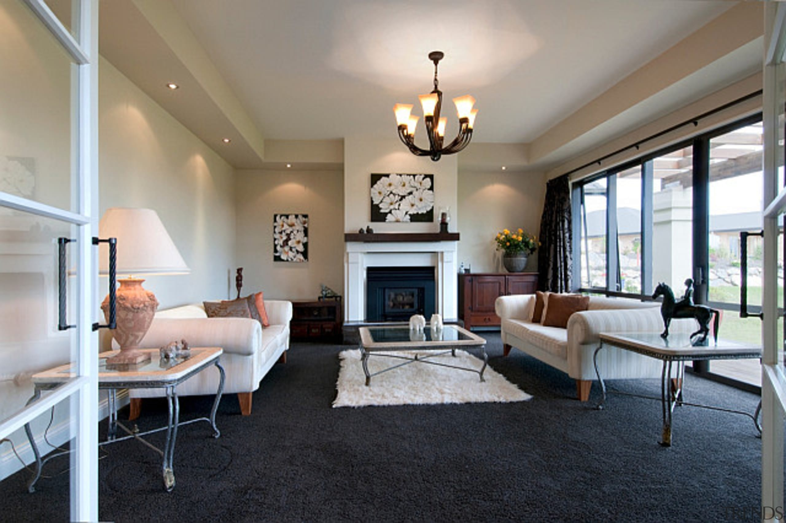 Grand style in this home designed and built ceiling, floor, flooring, home, house, interior design, living room, property, real estate, room, gray, black